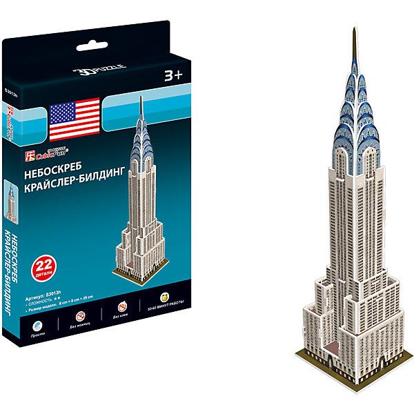 Небоскреб Крайслер-билдинг, США, CubicFun3D пазлы<br>Характеристики товара:<br><br>- цвет: разноцветный;<br>- материал: ламинированный пенокартон;<br>- комплектация: 22 деталей;<br>- особенности: легко собирается без инструментов;<br>- размер: 8x8x29 см;<br>- размер упаковки: 2х25х16 см;<br>- вес: 130 г.<br><br>Такое увлекательное занятие, как сборка 3D-пазла не оставит ребенка равнодушным! После сборки он получит фигурку одного из знаменитейший зданий в мире! Игрушка отлично детализирована, детали очень качественно выполнены, поэтому она станет отличным подарком ребенку. Для её сборки не нужен клей - достаточно прикрепить детали друг к другу! Такой комплект помогает развить логику, творческие способности ребенка, мышление, внимание, воображение и мелкую моторику.<br>Изделие произведено из высококачественного материала, безопасного для детей.<br><br>Небоскреб Крайслер-билдинг, США, от бренда CubicFun можно купить в нашем интернет-магазине.<br>Ширина мм: 20; Глубина мм: 250; Высота мм: 160; Вес г: 129; Возраст от месяцев: 36; Возраст до месяцев: 2147483647; Пол: Унисекс; Возраст: Детский; SKU: 5039899;