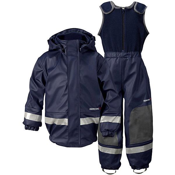 Непромокаемый комплект Boardman: куртка и полукомбинезон DIDRIKSONSВерхняя одежда<br>Характеристики товара:<br><br>• цвет: синий<br>• материал: 100% полиуретан, подкладка - 100% полиэстер<br>• утеплитель: 60 г/м<br>• температура: от 0° до +7 ° С<br>• непромокаемая ткань<br>• подкладка из флиса<br>• проклеенные швы<br>• регулируемый съемный капюшон<br>• регулируемый пояс брюк<br>• фронтальная молния под планкой<br>• светоотражающие детали<br>• зона коленей усилена дополнительным слоем ткани<br>• грязь легко удаляется с помощью влажной губки или ткани<br>• резинки для ботинок<br>• страна бренда: Швеция<br>• страна производства: Китай<br><br>Такой непромокаемый костюм понадобится в холодную и сырую погоду! Он не только стильный, но еще и очень комфортный. Костюм обеспечит ребенку удобство при прогулках и активном отдыхе в межсезонье или оттепель. Такая модель от шведского производителя легко чистится, она оснащена разными полезными деталями.<br>Материал костюма - непромокаемый, швы дополнительно проклеены. Очень стильная и удобная модель! Изделие качественно выполнено, сделано из безопасных для детей материалов. <br><br>Комплект: куртку и полукомбинезон от бренда DIDRIKSONS можно купить в нашем интернет-магазине.<br>Ширина мм: 356; Глубина мм: 10; Высота мм: 245; Вес г: 519; Цвет: голубой; Возраст от месяцев: 6; Возраст до месяцев: 12; Пол: Мужской; Возраст: Детский; Размер: 70,130,120,110,100,80,90,140; SKU: 5043795;