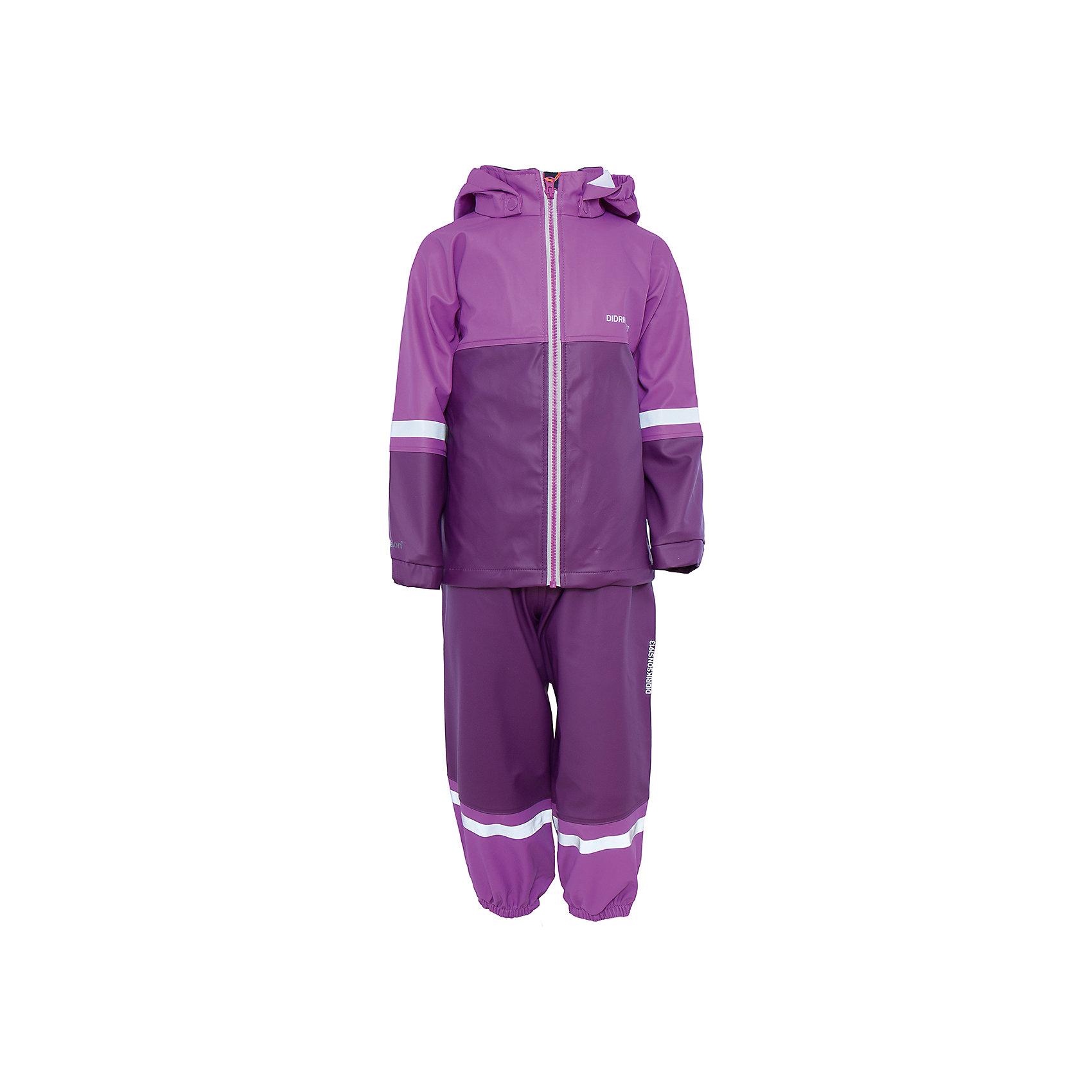 Комплект Waterman: куртка и брюки для девочки DIDRIKSONSХарактеристики товара:<br><br>• цвет: розовый<br>• материал: 100% полиуретан, подкладка - 100% полиэстер<br>• утеплитель: 60 г/м<br>• температура: от +5° до +12° С<br>• непромокаемая ткань<br>• подкладка из флиса<br>• проклеенные швы<br>• регулируемый съемный капюшон<br>• регулируемый пояс брюк<br>• фронтальная молния под планкой<br>• светоотражающие детали<br>• зона коленей усилена дополнительным слоем ткани<br>• грязь легко удаляется с помощью влажной губки или ткани<br>• резинки для ботинок<br>• страна бренда: Швеция<br>• страна производства: Китай<br><br>Такой непромокаемый костюм понадобится в холодную и сырую погоду! Он не только стильный, но еще и очень комфортный. Костюм обеспечит ребенку удобство при прогулках и активном отдыхе в межсезонье или оттепель. Такая модель от шведского производителя легко чистится, она оснащена разными полезными деталями.<br>Материал костюма - непромокаемый, швы дополнительно проклеены. Очень стильная и удобная модель! Изделие качественно выполнено, сделано из безопасных для детей материалов. <br><br>Комплект: куртку и брюки для девочки от бренда DIDRIKSONS можно купить в нашем интернет-магазине.<br><br>Ширина мм: 356<br>Глубина мм: 10<br>Высота мм: 245<br>Вес г: 519<br>Цвет: розовый<br>Возраст от месяцев: 18<br>Возраст до месяцев: 24<br>Пол: Женский<br>Возраст: Детский<br>Размер: 90,100,110,120,80,70<br>SKU: 5043804