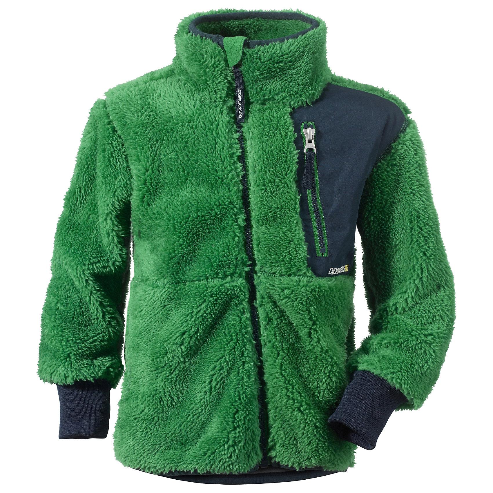 Толстовка флисовая Ciqala DIDRIKSONSТолстовки<br>Характеристики товара:<br><br>• цвет: зеленый<br>• материал: 100% полиэстер<br>• флис<br>• длинные рукава<br>• манжеты<br>• карман на груди<br>• ассиметричная фронтальная молния<br>• страна бренда: Швеция<br>• страна производства: Китай<br><br>Такие мягкие кофты сейчас очень популярны у детей! Это не только стильно, но еще и очень комфортно, а также тепло. Такая качественная кофта обеспечит ребенку удобство при прогулках и активном отдыхе в прохладные дне, в межсезонье или зимой. Такая модель от шведского производителя легко стирается, подходит под разные погодные условия.<br>Кофта сшита из качественной мягкой ткани, которая позволяет телу дышать, она очень приятна на ощупь. Очень стильная и удобная модель! Изделие качественно выполнено, сделано из безопасных для детей материалов. <br><br>Куртку от бренда DIDRIKSONS можно купить в нашем интернет-магазине.<br><br>Ширина мм: 356<br>Глубина мм: 10<br>Высота мм: 245<br>Вес г: 519<br>Цвет: зеленый<br>Возраст от месяцев: 72<br>Возраст до месяцев: 84<br>Пол: Унисекс<br>Возраст: Детский<br>Размер: 120,130,110,140,100,90,80<br>SKU: 5043835