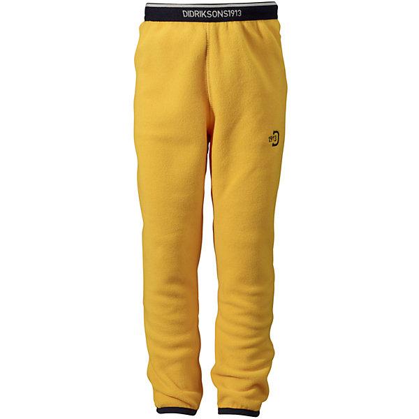 Брюки флисовые Monte DIDRIKSONSФлис и термобелье<br>Характеристики товара:<br><br>• цвет: желтый<br>• материал: 100% полиэстер<br>• флис<br>• резинка на поясе<br>• можно надевать под одежду<br>• страна бренда: Швеция<br>• страна производства: Китай<br><br>Такие мягкие брюки сейчас очень популярны у детей! Это не только стильно, но еще и очень комфортно, а также тепло. Качественные флисовые брюки обеспечат ребенку удобство при прогулках и активном отдыхе в прохладные дне, в межсезонье или зимой. Такая модель от шведского производителя легко стирается, подходит под разные погодные условия.<br>Модель сшита из качественной мягкой ткани, которая позволяет телу дышать, она очень приятна на ощупь. Очень стильная и удобная модель! Изделие качественно выполнено, сделано из безопасных для детей материалов. <br><br>Брюки DIDRIKSONS можно купить в нашем интернет-магазине.<br><br>Ширина мм: 215<br>Глубина мм: 88<br>Высота мм: 191<br>Вес г: 336<br>Цвет: желтый<br>Возраст от месяцев: 12<br>Возраст до месяцев: 15<br>Пол: Унисекс<br>Возраст: Детский<br>Размер: 80,90,120,110<br>SKU: 5043866