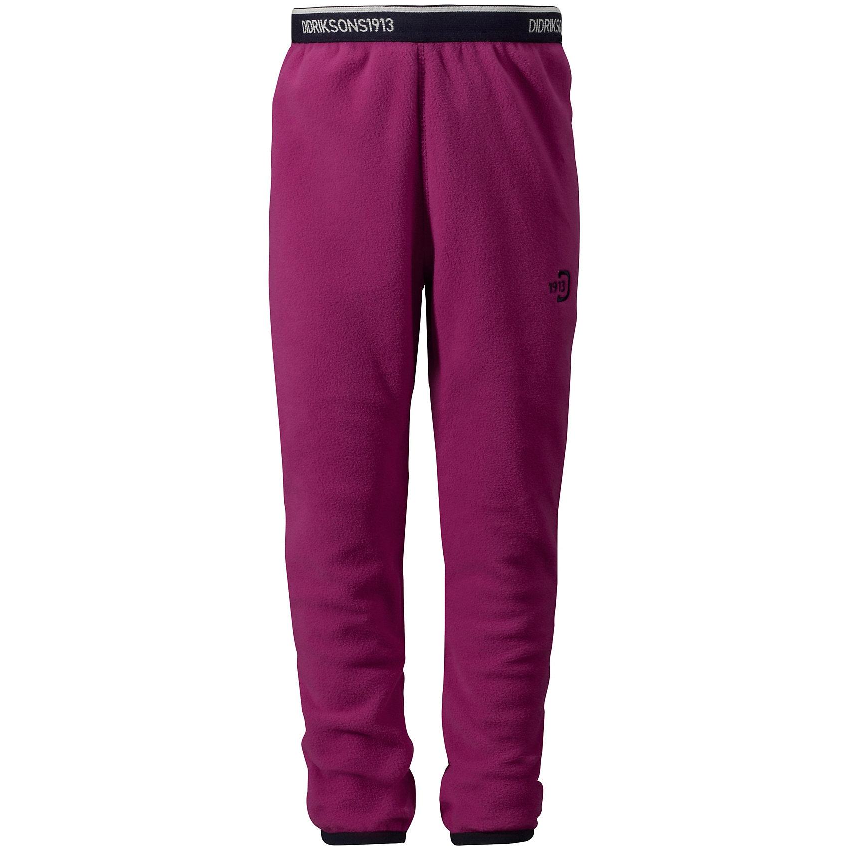 Брюки флисовые Monte DIDRIKSONSФлис и термобелье<br>Характеристики товара:<br><br>• цвет: фиолетовый<br>• материал: 100% полиэстер<br>• флис<br>• резинка на поясе<br>• можно надевать под одежду<br>• страна бренда: Швеция<br>• страна производства: Китай<br><br>Такие мягкие брюки сейчас очень популярны у детей! Это не только стильно, но еще и очень комфортно, а также тепло. Качественные флисовые брюки обеспечат ребенку удобство при прогулках и активном отдыхе в прохладные дне, в межсезонье или зимой. Такая модель от шведского производителя легко стирается, подходит под разные погодные условия.<br>Модель сшита из качественной мягкой ткани, которая позволяет телу дышать, она очень приятна на ощупь. Очень стильная и удобная модель! Изделие качественно выполнено, сделано из безопасных для детей материалов. <br><br>Брюки для девочки от бренда DIDRIKSONS можно купить в нашем интернет-магазине.<br><br>Ширина мм: 215<br>Глубина мм: 88<br>Высота мм: 191<br>Вес г: 336<br>Цвет: фиолетовый<br>Возраст от месяцев: 36<br>Возраст до месяцев: 48<br>Пол: Женский<br>Возраст: Детский<br>Размер: 100<br>SKU: 5043875