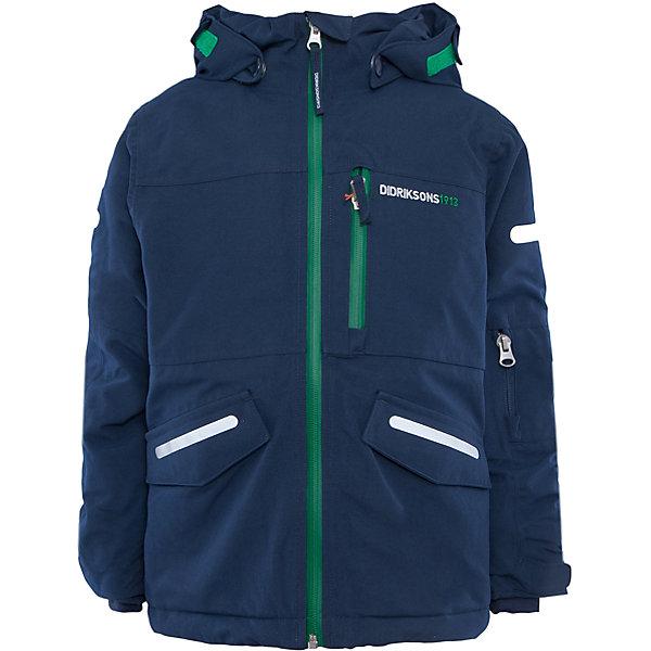 Куртка Guolldo DIDRIKSONSВерхняя одежда<br>Характеристики товара:<br><br>• цвет: синий<br>• материал: 100% полиамид, подкладка 100% полиэстер<br>• утеплитель: 140 г/м<br>• сезон: зима<br>• температурный режим от +5 до -20С<br>• непромокаемая и непродуваемая мембранная ткань<br>• на спине подкладка из искусственного меха<br>• дополнительная пропитка верха<br>• прокленные швы<br>• регулируемый съемный капюшон<br>• манжеты и низ регулируется<br>• петли для крепления варежек<br>• трикотажные манжеты<br>• фронтальная молния под планкой<br>• светоотражающие детали<br>• можно увеличить длину рукавов на один размер <br>• страна бренда: Швеция<br>• страна производства: Бангладеш<br><br>Такие куртки сейчас на пике молодежной моды! Это не только стильно, но еще и очень комфортно, а также тепло. Эта качественная куртка обеспечит ребенку удобство при прогулках и активном отдыхе в межсезонье. Такая модель от шведского производителя легко трансформируется под рост ребенка и погодные условия.<br>Куртка сшита из мембранной ткани, которая позволяет телу дышать, но при этом не промокает и не продувается. Очень стильная и удобная модель! Изделие качественно выполнено, сделано из безопасных для детей материалов. <br><br>Куртку от бренда DIDRIKSONS можно купить в нашем интернет-магазине.<br><br>Ширина мм: 356<br>Глубина мм: 10<br>Высота мм: 245<br>Вес г: 519<br>Цвет: голубой<br>Возраст от месяцев: 18<br>Возраст до месяцев: 24<br>Пол: Мужской<br>Возраст: Детский<br>Размер: 90,140,120,110,100,80,130<br>SKU: 5043891
