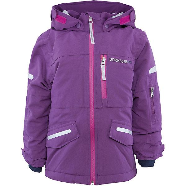 Куртка для девочки DIDRIKSONSВерхняя одежда<br>Характеристики товара:<br><br>• цвет: фиолетовый<br>• материал: 100% полиамид, подкладка 100% полиэстер<br>• утеплитель: 140 г/м<br>• сезон: зима<br>• температурный режим от +5 до -20С<br>• непромокаемая и непродуваемая мембранная ткань<br>• на спине подкладка из искусственного меха<br>• дополнительная пропитка верха<br>• прокленные швы<br>• регулируемый съемный капюшон<br>• манжеты и низ регулируется<br>• петли для крепления варежек<br>• трикотажные манжеты<br>• фронтальная молния под планкой<br>• светоотражающие детали<br>• можно увеличить длину рукавов на один размер <br>• страна бренда: Швеция<br>• страна производства: Бангладеш<br><br>Такие куртки сейчас на пике молодежной моды! Это не только стильно, но еще и очень комфортно, а также тепло. Эта качественная куртка обеспечит ребенку удобство при прогулках и активном отдыхе в межсезонье. Такая модель от шведского производителя легко трансформируется под рост ребенка и погодные условия.<br>Куртка сшита из мембранной ткани, которая позволяет телу дышать, но при этом не промокает и не продувается. Очень стильная и удобная модель! Изделие качественно выполнено, сделано из безопасных для детей материалов. <br><br>Куртку для девочки от бренда DIDRIKSONS можно купить в нашем интернет-магазине.<br><br>Ширина мм: 356<br>Глубина мм: 10<br>Высота мм: 245<br>Вес г: 519<br>Цвет: розовый<br>Возраст от месяцев: 84<br>Возраст до месяцев: 96<br>Пол: Женский<br>Возраст: Детский<br>Размер: 130,100,110,120,140,80,90<br>SKU: 5043900