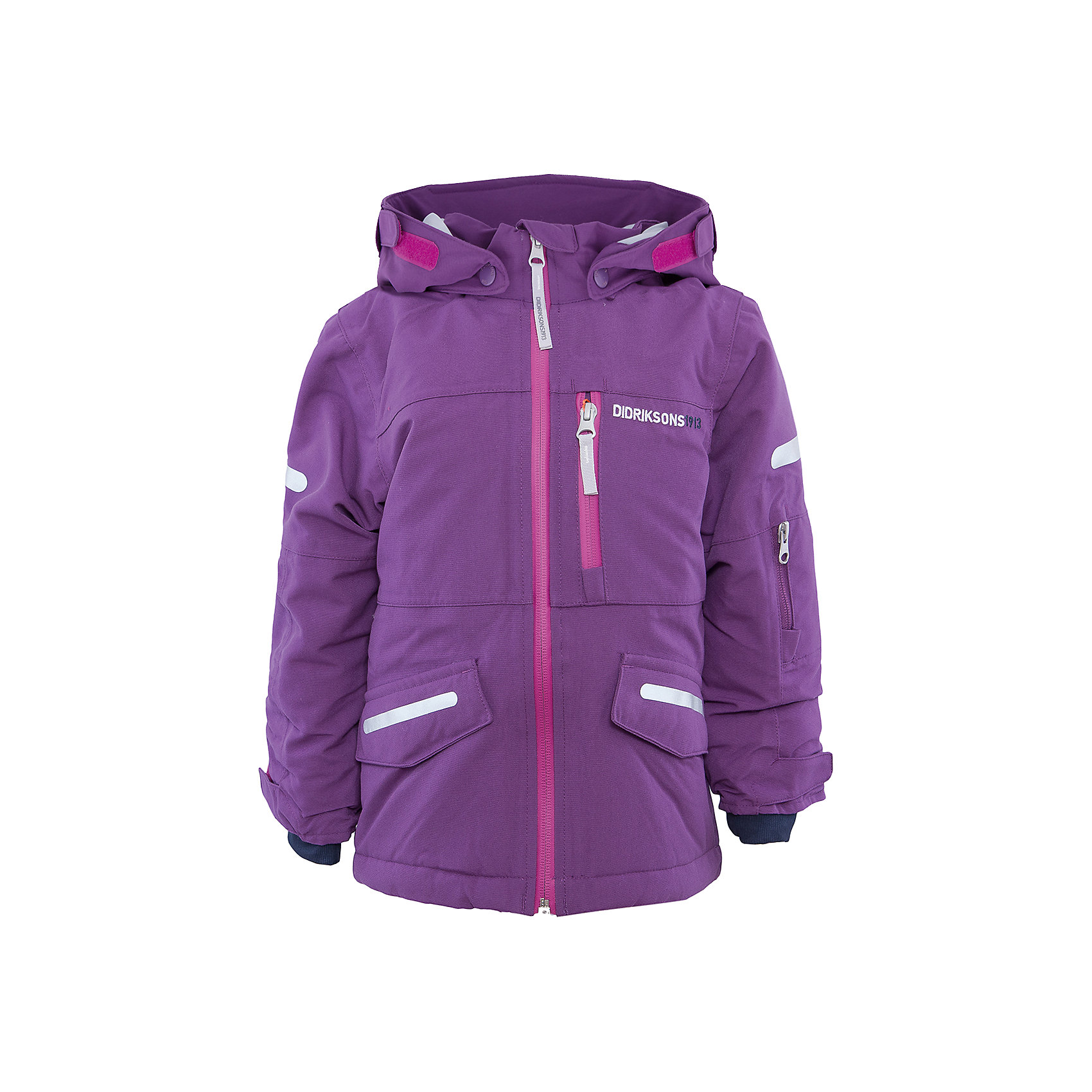 Куртка для девочки DIDRIKSONSВерхняя одежда<br>Характеристики товара:<br><br>• цвет: фиолетовый<br>• материал: 100% полиамид, подкладка 100% полиэстер<br>• утеплитель: 140 г/м<br>• сезон: зима<br>• температурный режим от +5 до -20С<br>• непромокаемая и непродуваемая мембранная ткань<br>• на спине подкладка из искусственного меха<br>• дополнительная пропитка верха<br>• прокленные швы<br>• регулируемый съемный капюшон<br>• манжеты и низ регулируется<br>• петли для крепления варежек<br>• трикотажные манжеты<br>• фронтальная молния под планкой<br>• светоотражающие детали<br>• можно увеличить длину рукавов на один размер <br>• страна бренда: Швеция<br>• страна производства: Бангладеш<br><br>Такие куртки сейчас на пике молодежной моды! Это не только стильно, но еще и очень комфортно, а также тепло. Эта качественная куртка обеспечит ребенку удобство при прогулках и активном отдыхе в межсезонье. Такая модель от шведского производителя легко трансформируется под рост ребенка и погодные условия.<br>Куртка сшита из мембранной ткани, которая позволяет телу дышать, но при этом не промокает и не продувается. Очень стильная и удобная модель! Изделие качественно выполнено, сделано из безопасных для детей материалов. <br><br>Куртку для девочки от бренда DIDRIKSONS можно купить в нашем интернет-магазине.<br><br>Ширина мм: 356<br>Глубина мм: 10<br>Высота мм: 245<br>Вес г: 519<br>Цвет: розовый<br>Возраст от месяцев: 18<br>Возраст до месяцев: 24<br>Пол: Женский<br>Возраст: Детский<br>Размер: 90,110,100,80,140,130,120<br>SKU: 5043900