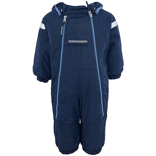 Комбинезон Borga DIDRIKSONSВерхняя одежда<br>Характеристики товара:<br><br>• цвет: синий<br>• материал: 100% полиамид, подкладка 100% полиэстер<br>• утеплитель: 120 г/м<br>• сезон: зима<br>• температурный режим от +5 до -20С<br>• непромокаемая и непродуваемая ткань<br>• манжеты и низ штанин на резинке<br>• дополнительная пропитка верха<br>• прокленные швы<br>• регулируемый съемный капюшон<br>• две фронтальных молнии<br>• светоотражающие детали<br>• страна бренда: Швеция<br>• страна производства: Бангладеш<br><br>Такой комбинезон незаменим дя малышей в межсезонье! Это не только стильно, но еще и очень комфортно, а также тепло. Он обеспечит ребенку удобство при прогулках. Комбинезон от шведского производителя легко трансформируется под погодные условия.<br>Модель сшита из непродуваемой ткани, она еще и не продувается. Очень стильная и удобная модель! Изделие качественно выполнено, сделано из безопасных для детей материалов. <br><br>Комбинезон от бренда DIDRIKSONS можно купить в нашем интернет-магазине.<br>Ширина мм: 356; Глубина мм: 10; Высота мм: 245; Вес г: 519; Цвет: голубой; Возраст от месяцев: 4; Возраст до месяцев: 6; Пол: Мужской; Возраст: Детский; Размер: 60,70,80; SKU: 5043909;