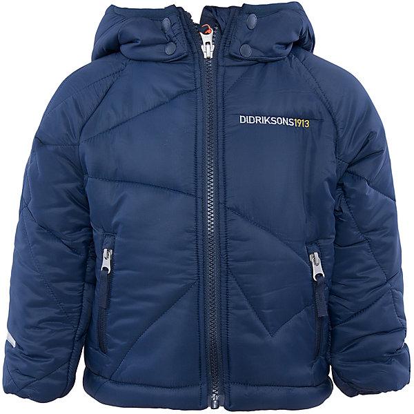 Куртка Coddi DIDRIKSONSВерхняя одежда<br>Характеристики товара:<br><br>• цвет: синий<br>• материал: 100% полиамид, подкладка 100% полиэстер<br>• утеплитель: 240 г/м<br>• сезон: зима<br>• температурный режи от +5 до -20С<br>• дополнительная пропитка верха<br>• съемный капюшон<br>• фронтальная молния <br>• светоотражающие детали<br>• можно увеличить длину рукавов на один размер <br>• страна бренда: Швеция<br>• страна производства: Бангладеш<br><br>Такая куртка поможет малышам наслаждаться зимним отдыхом даже в морозы! Это не только стильно, но еще и очень комфортно, а также тепло. Эта качественная куртка обеспечит ребенку удобство при прогулках и активном отдыхе зимой. Такая модель от шведского производителя легко трансформируется под рост ребенка и погодные условия.<br>Куртка сшита из легкого материала с дополнительной пропиткой. Очень стильная и удобная модель! Изделие качественно выполнено, сделано из безопасных для детей материалов. <br><br>Куртку от бренда DIDRIKSONS можно купить в нашем интернет-магазине.<br><br>Ширина мм: 356<br>Глубина мм: 10<br>Высота мм: 245<br>Вес г: 519<br>Цвет: голубой<br>Возраст от месяцев: 18<br>Возраст до месяцев: 24<br>Пол: Мужской<br>Возраст: Детский<br>Размер: 90,80,130,120,110,100<br>SKU: 5043918