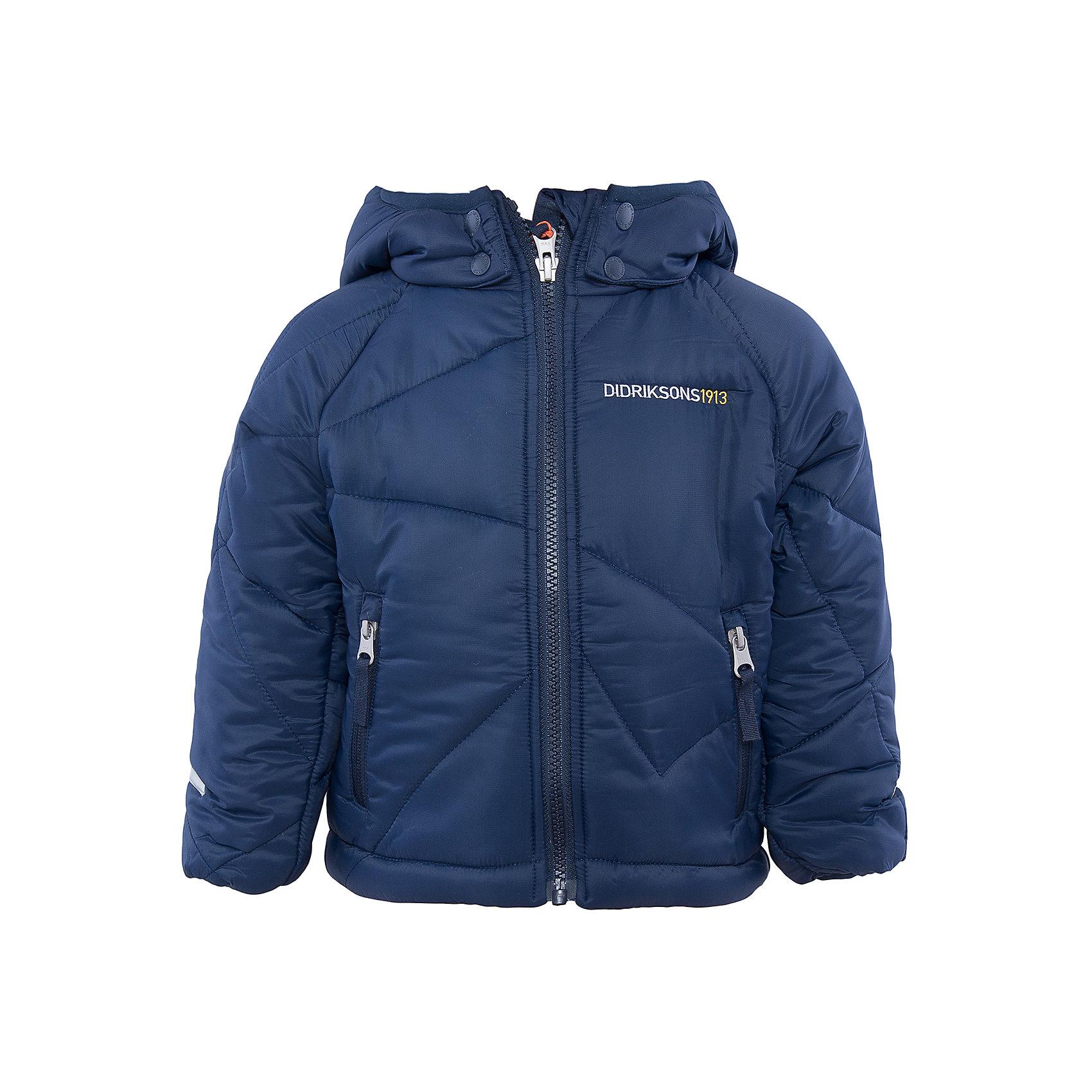 Куртка Coddi DIDRIKSONSВерхняя одежда<br>Характеристики товара:<br><br>• цвет: синий<br>• материал: 100% полиамид, подкладка 100% полиэстер<br>• утеплитель: 240 г/м<br>• сезон: зима<br>• температурный режи от +5 до -20С<br>• дополнительная пропитка верха<br>• съемный капюшон<br>• фронтальная молния <br>• светоотражающие детали<br>• можно увеличить длину рукавов на один размер <br>• страна бренда: Швеция<br>• страна производства: Бангладеш<br><br>Такая куртка поможет малышам наслаждаться зимним отдыхом даже в морозы! Это не только стильно, но еще и очень комфортно, а также тепло. Эта качественная куртка обеспечит ребенку удобство при прогулках и активном отдыхе зимой. Такая модель от шведского производителя легко трансформируется под рост ребенка и погодные условия.<br>Куртка сшита из легкого материала с дополнительной пропиткой. Очень стильная и удобная модель! Изделие качественно выполнено, сделано из безопасных для детей материалов. <br><br>Куртку от бренда DIDRIKSONS можно купить в нашем интернет-магазине.<br><br>Ширина мм: 356<br>Глубина мм: 10<br>Высота мм: 245<br>Вес г: 519<br>Цвет: голубой<br>Возраст от месяцев: 18<br>Возраст до месяцев: 24<br>Пол: Мужской<br>Возраст: Детский<br>Размер: 80,100,110,120,90,130<br>SKU: 5043918