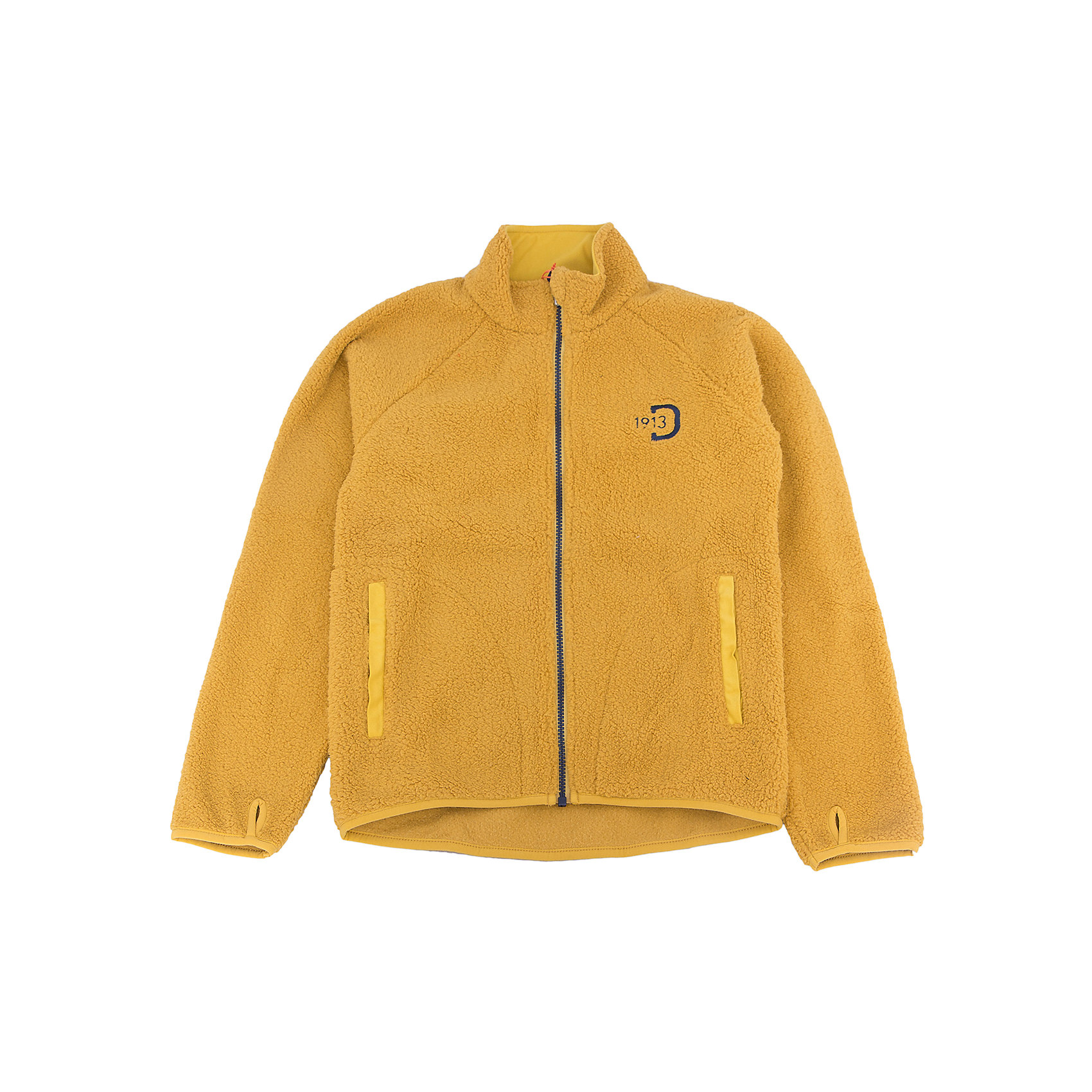 Куртка флисовая Mochini DIDRIKSONSХарактеристики товара:<br><br>• цвет: желтый<br>• материал: 100% полиэстер<br>• флис<br>• длинные рукава<br>• украшена вышивкой<br>• карманы<br>• на концах рукавов отверстие для большого пальца<br>• фронтальная молния<br>• страна бренда: Швеция<br>• страна производства: Китай<br><br>Такие мягкие куртки сейчас очень популярны у детей! Это не только стильно, но еще и очень комфортно, а также тепло. Такая качественная куртка обеспечит ребенку удобство при прогулках и активном отдыхе в прохладные дне, в межсезонье или зимой. Эта модель от шведского производителя легко стирается, подходит под разные погодные условия.<br>Куртка сшита из качественной мягкой ткани, которая позволяет телу дышать, она очень приятна на ощупь. Очень стильная и удобная модель! Изделие качественно выполнено, сделано из безопасных для детей материалов. <br><br>Куртку от бренда DIDRIKSONS можно купить в нашем интернет-магазине.<br><br>Ширина мм: 356<br>Глубина мм: 10<br>Высота мм: 245<br>Вес г: 519<br>Цвет: желтый<br>Возраст от месяцев: 108<br>Возраст до месяцев: 120<br>Пол: Унисекс<br>Возраст: Детский<br>Размер: 140,130,120,110,100,90,80<br>SKU: 5043989