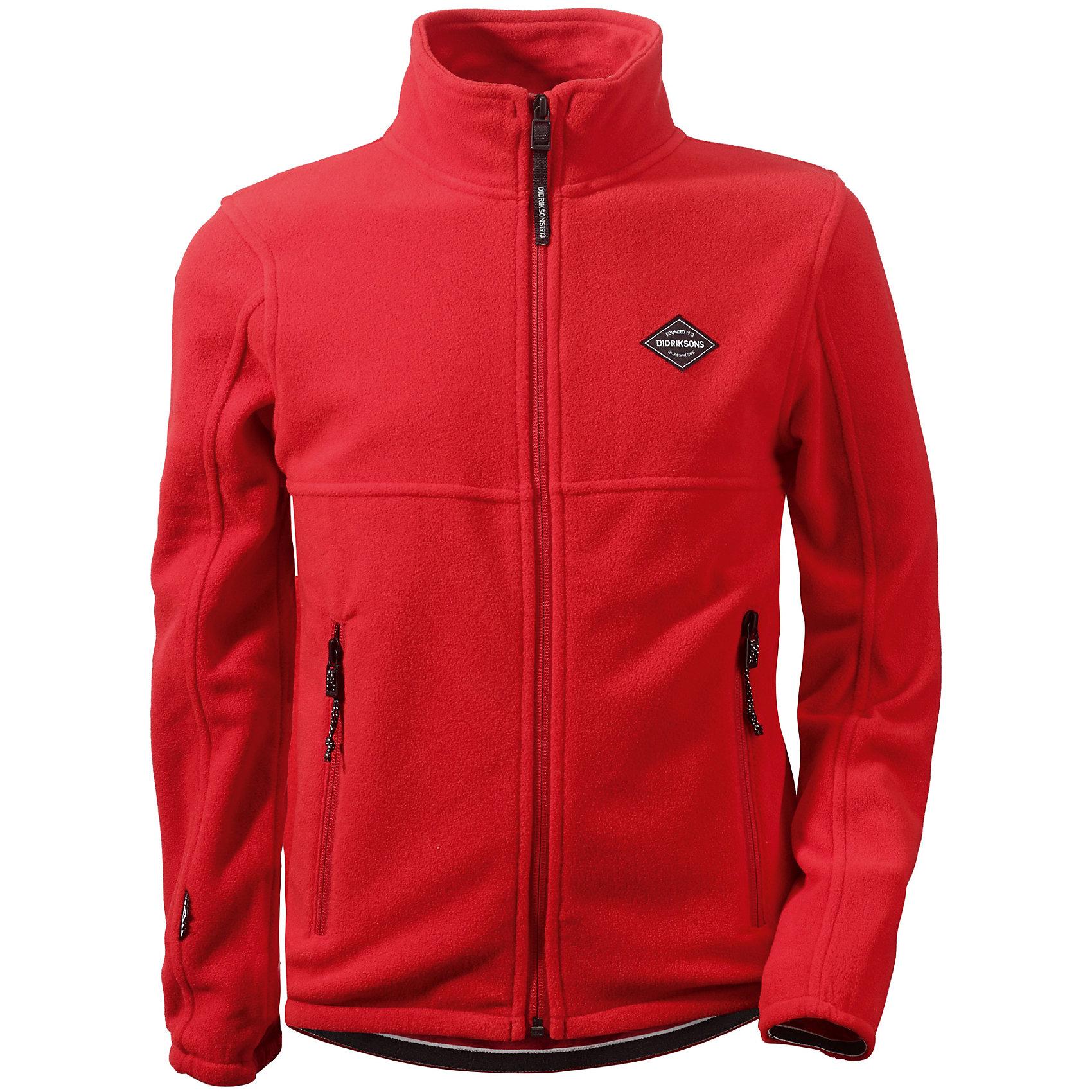Куртка для мальчика DIDRIKSONSКуртка для мальчика от известного бренда DIDRIKSONS.<br><br>Кофта из тонкого флиса. Мягкий и комфортный флис обладает хорошими теплоизоляционными свойствами, которые сохраняются даже во влажном состоянии. Этот материал прост в уходе (допускается стирка в машине). Весной и летом эта модель будет работать как самостоятельная верхняя одежда, а в ненастную погоду ее можно использовать как утепляющий слой под водонепроницаемую верхнюю одежду.<br>Состав:<br>Полиэстер 100%<br><br>Ширина мм: 356<br>Глубина мм: 10<br>Высота мм: 245<br>Вес г: 519<br>Цвет: красный<br>Возраст от месяцев: 168<br>Возраст до месяцев: 180<br>Пол: Мужской<br>Возраст: Детский<br>Размер: 170,130,140,150,160<br>SKU: 5044018