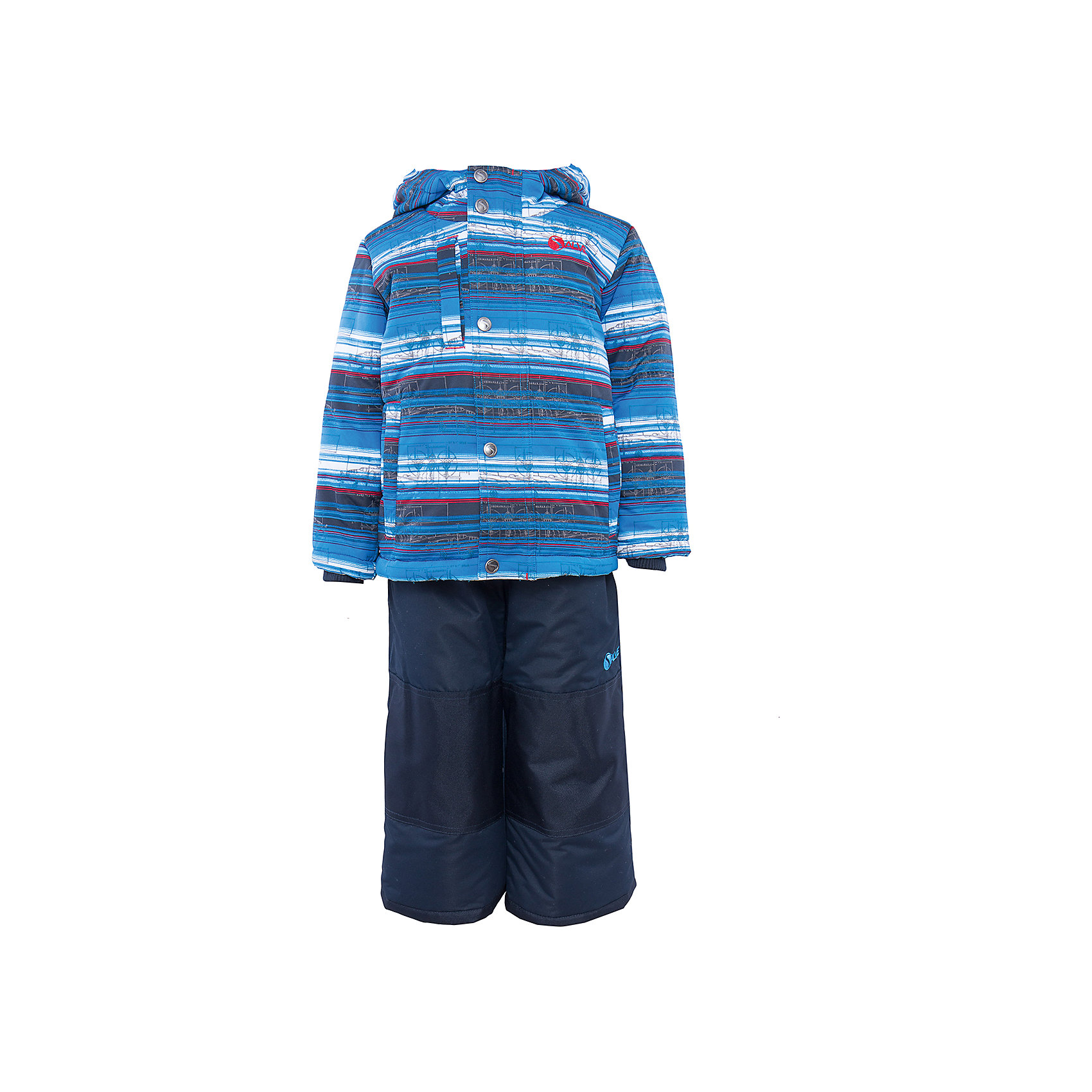 Комплект: куртка и полукомбинезон для мальчика SalveХарактеристики:<br><br>• Сезон: зима<br>• Степень утепления: высокая (куртка – 330 гр/м.кв.; полукомбинезон – 200 гр/м.кв.)<br>• Температурный режим*: от 0 до -30 градусов<br>• Пол: для мальчика<br>• Цвет: синий, голубой, красный<br>• Материал: полиэстер 100%<br>• Комплектация: куртка, полукомбинезон<br>• Наличие снегозащитной юбки<br>• Тип застежки: молния, кнопки<br>• Манжеты на куртке: эластичные, трикотажные<br>• Капюшон: не отстегивается<br>• Регулируемые лямки у полукомбинезона<br>• Карманы: 2 боковых  и 1 на груди у куртки  <br>• Уход: допускается стирка без чистящих и отбеливающих средств<br><br>Бренд Salve разработан и произведён канадской компанией Gusti International специально для российского рынка.<br><br>Комплект: куртка и полукомбинезон для мальчика Salve предназначен для прогулок в самое холодное время года. Изделие обеспечено высокой степенью утепления. Верхняя часть  комплекта выполнена из полиэстера, который обладает ветрозащитными и влагонепропускаемыми свойствами. Подклад на куртке выполнен из флиса. Для обеспечения поддержания микроклимата имеются эластичные трикотажных манжеты на рукавах куртки и резинки на брюках. Изделие выполнено из прочной ткани, имеется усиление на коленях, по низу полукомбинезона и сзади. Крой комплекта выполнен с учетом повышенной подвижности ребенка во время зимних прогулок: расширенные брючины не сковывают движений. <br>Комплект: куртка и полукомбинезон для мальчика Salve выполнен в ярком дизайне: полосатая голубая куртка с графическими элементами и полукомбинезон в классическом темном цвете.<br><br>Комплект: куртку и полукомбинезон для мальчика Salve можно купить в нашем интернет-магазине.<br><br>Ширина мм: 356<br>Глубина мм: 10<br>Высота мм: 245<br>Вес г: 519<br>Цвет: синий<br>Возраст от месяцев: 48<br>Возраст до месяцев: 60<br>Пол: Мужской<br>Возраст: Детский<br>Размер: 110,98,128,122,116,104<br>SKU: 5044704