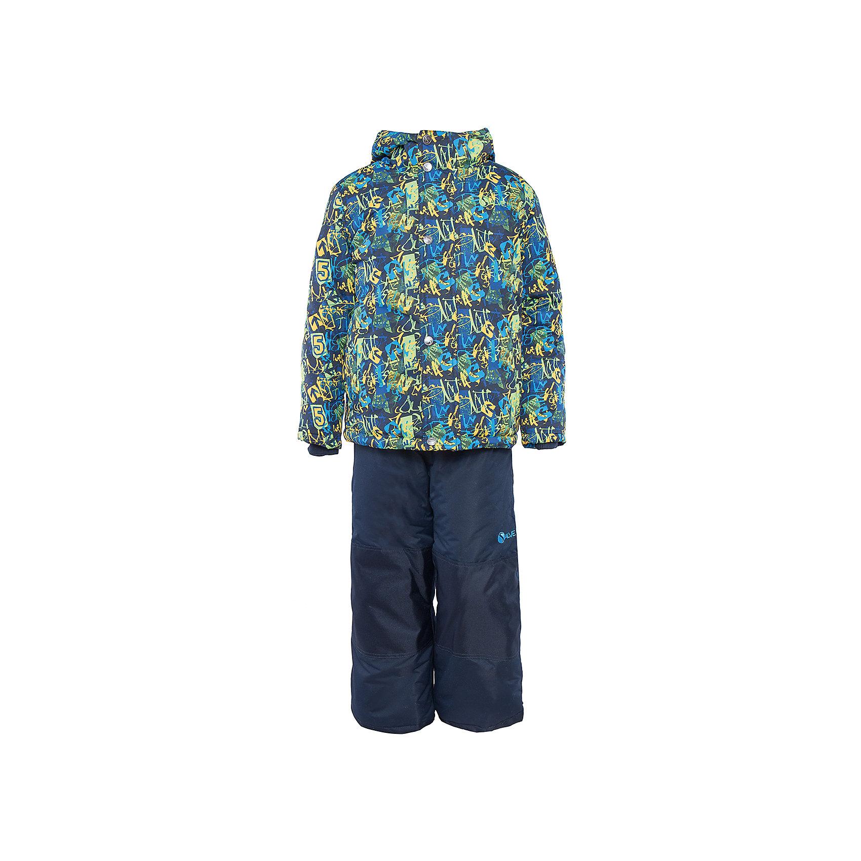 Комплект: куртка и полукомбинезон для мальчика SalveХарактеристики:<br><br>• Сезон: зима<br>• Степень утепления: высокая (куртка – 330 гр/м.кв.; полукомбинезон – 200 гр/м.кв.)<br>• Температурный режим*: от 0 до -30 градусов<br>• Пол: для мальчика<br>• Цвет: зеленый, желтый, синий<br>• Материал: полиэстер 100%<br>• Комплектация: куртка, полукомбинезон<br>• Наличие снегозащитной юбки<br>• Тип застежки: молния, кнопки<br>• Манжеты на куртке: эластичные, трикотажные<br>• Капюшон: не отстегивается<br>• Регулируемые лямки у полукомбинезона<br>• Карманы: боковые<br>• Уход: допускается стирка без чистящих и отбеливающих средств<br><br>Бренд Salve разработан и произведён канадской компанией Gusti International специально для российского рынка.<br><br>Комплект: куртка и полукомбинезон для мальчика Salve предназначен для прогулок в самое холодное время года. Изделие обеспечено высокой степенью утепления. Верхняя часть комплекта выполнена из полиэстера, который обладает ветрозащитными и влагонепропускаемыми свойствами. Подклад на куртке выполнен из флиса. Для обеспечения поддержания микроклимата имеются эластичные трикотажных манжеты на рукавах куртки и резинки на брюках. Изделие выполнено из прочной ткани, имеется усиление на коленях, по низу полукомбинезона и сзади. Крой комплекта выполнен с учетом повышенной подвижности ребенка во время зимних прогулок: расширенные брючины не сковывают движений. <br>Комплект: куртка и полукомбинезон для мальчика Salve выполнен в ярком дизайне: куртка с разноцветными графическими элементами и полукомбинезон в классическом темном цвете.<br><br>Комплект: куртку и полукомбинезон для мальчика Salve можно купить в нашем интернет-магазине.<br><br>Ширина мм: 356<br>Глубина мм: 10<br>Высота мм: 245<br>Вес г: 519<br>Цвет: синий<br>Возраст от месяцев: 72<br>Возраст до месяцев: 84<br>Пол: Мужской<br>Возраст: Детский<br>Размер: 122,128,116<br>SKU: 5044723