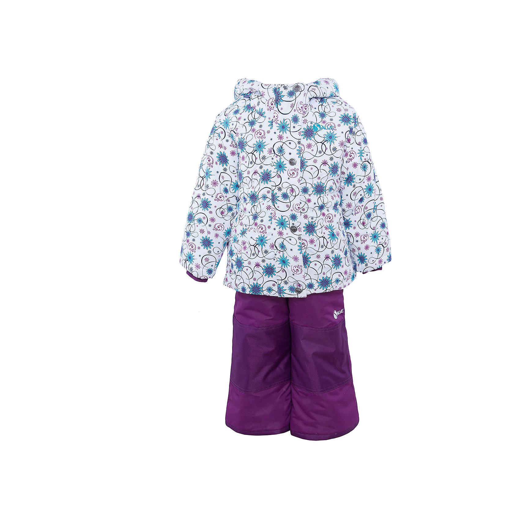 Комплект: куртка и полукомбинезон для девочки SalveХарактеристики:<br><br>• Сезон: зима<br>• Степень утепления: высокая (куртка – 330 гр/м.кв.; полукомбинезон – 200 гр/м.кв.)<br>• Температурный режим*: от 0 до -30 градусов<br>• Пол: для девочки<br>• Цвет: фиолетовый, белый, голубой<br>• Материал: полиэстер 100%<br>• Комплектация: куртка, полукомбинезон<br>• Наличие снегозащитной юбки<br>• Тип застежки: молния, кнопки<br>• Манжеты на куртке: эластичные, трикотажные<br>• Капюшон: не отстегивается<br>• Регулируемые лямки у полукомбинезона<br>• Уход: допускается стирка без чистящих и отбеливающих средств<br><br>Бренд Salve разработан и произведён канадской компанией Gusti International специально для российского рынка.<br><br>Комплект: куртка и полукомбинезон для девочки Salve предназначен для прогулок в самое холодное время года. Изделие обеспечено высокой степенью утепления. Верхняя часть комплекта выполнена из полиэстера, который обладает ветрозащитными и влагонепропускаемыми свойствами. Подклад на куртке выполнен из флиса. Для обеспечения поддержания микроклимата имеются эластичные трикотажных манжеты на рукавах куртки и резинки на брюках. Изделие выполнено из прочной ткани, имеется усиление на коленях, по низу полукомбинезона и сзади. Крой комплекта выполнен с учетом повышенной подвижности ребенка во время зимних прогулок: расширенные брючины не сковывают движений. <br>Комплект: куртка и полукомбинезон для девочки Salve выполнен в стильном дизайне: куртка с узором из цветочных элементов и полукомбинезон в классическом темном цвете.<br><br>* Температурный режим указан приблизительно — необходимо, прежде всего, ориентироваться на индивидуальные ощущения ребенка. Указанный температурный режим предполагает соблюдения многослойности – использования флисовой поддевы и термобелья.<br><br>Комплект: куртку и полукомбинезон для девочки Salve можно купить в нашем интернет-магазине.<br><br>Ширина мм: 356<br>Глубина мм: 10<br>Высота мм: 245<br>Вес г: 519<br>Цвет: фиолетовый<br>