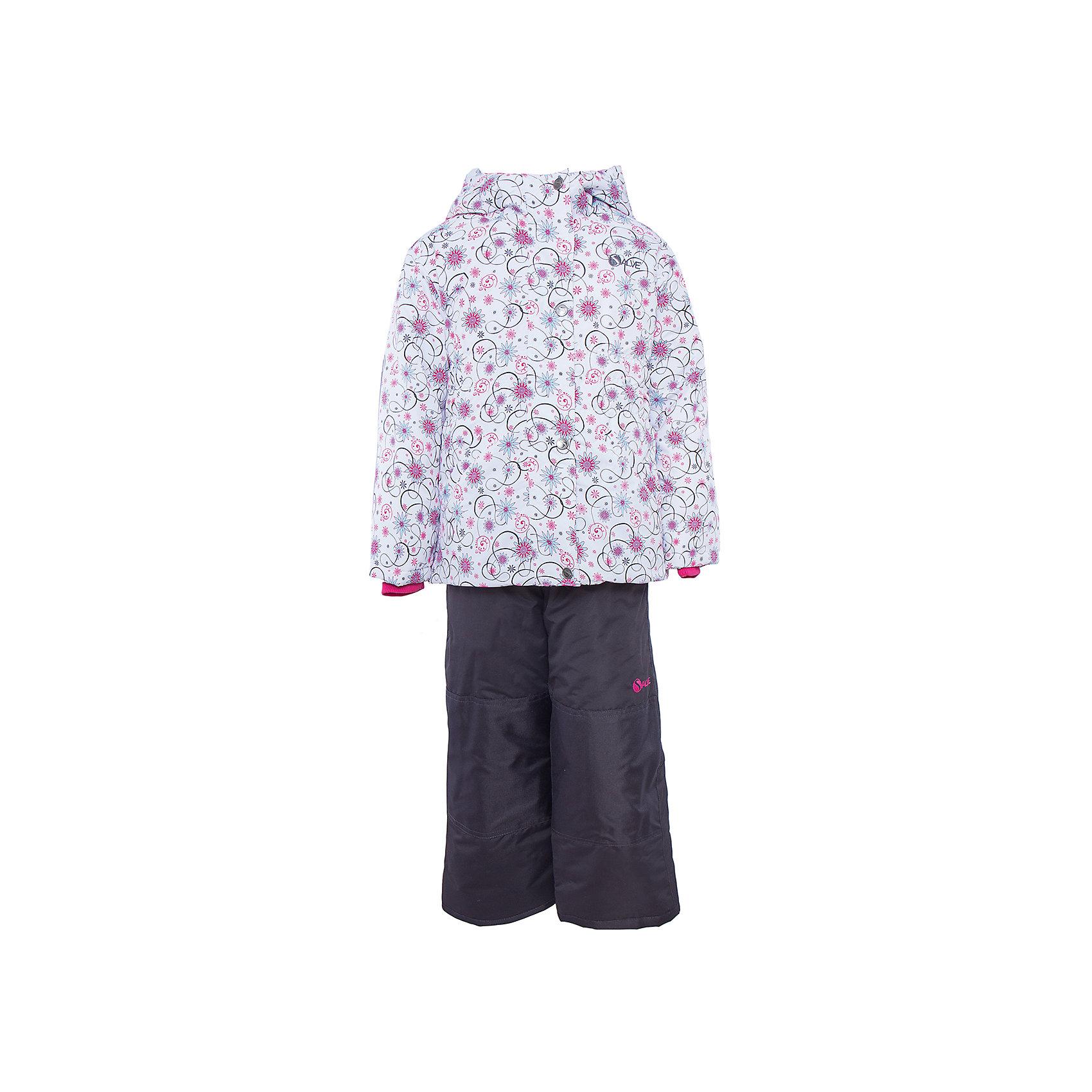 Комплект: куртка и полукомбинезон для девочки SalveХарактеристики:<br><br>• Сезон: зима<br>• Степень утепления: высокая (куртка – 330 гр/м.кв.; полукомбинезон – 200 гр/м.кв.)<br>• Температурный режим*: от 0 до -30 градусов<br>• Пол: для девочки<br>• Цвет: розовый, голубой, черный<br>• Материал: полиэстер 100%<br>• Комплектация: куртка, полукомбинезон<br>• Наличие снегозащитной юбки<br>• Тип застежки: молния, кнопки<br>• Манжеты на куртке: эластичные, трикотажные<br>• Капюшон: не отстегивается<br>• Регулируемые лямки у полукомбинезона<br>• Уход: допускается стирка без чистящих и отбеливающих средств<br><br>Бренд Salve разработан и произведён канадской компанией Gusti International специально для российского рынка.<br><br>Комплект: куртка и полукомбинезон для девочки Salve предназначен для прогулок в самое холодное время года. Изделие обеспечено высокой степенью утепления. Верхняя часть комплекта выполнена из полиэстера, который обладает ветрозащитными и влагонепропускаемыми свойствами. Подклад на куртке выполнен из флиса. Для обеспечения поддержания микроклимата имеются эластичные трикотажных манжеты на рукавах куртки и резинки на брюках. Изделие выполнено из прочной ткани, имеется усиление на коленях, по низу полукомбинезона и сзади. Крой комплекта выполнен с учетом повышенной подвижности ребенка во время зимних прогулок: расширенные брючины не сковывают движений. <br>Комплект: куртка и полукомбинезон для девочки Salve выполнен в стильном дизайне: куртка с узором из цветочных элементов и полукомбинезон в классическом темном цвете.<br><br>* Температурный режим указан приблизительно — необходимо, прежде всего, ориентироваться на индивидуальные ощущения ребенка. Указанный температурный режим предполагает соблюдения многослойности – использования флисовой поддевы и термобелья.<br><br>Комплект: куртку и полукомбинезон для девочки Salve можно купить в нашем интернет-магазине.<br><br>Ширина мм: 356<br>Глубина мм: 10<br>Высота мм: 245<br>Вес г: 519<br>Цвет: розовый<br>Возра