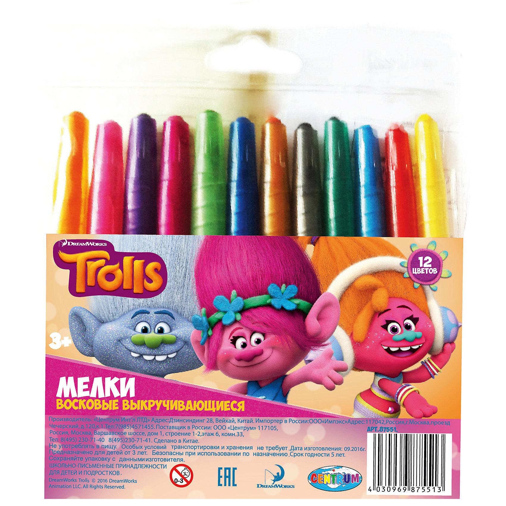 Мелки восковые выкручивающиеся Тролли, 12 цветовТролли Творчество<br>Мелки восковые выкручивающиеся Тролли, 12 цветов, Centrum (Центрум)<br><br>Характеристики:<br><br>• яркие цвета<br>• безопасны для ребенка<br>• привлекательный дизайн с любимыми героями<br>• в комплекте: мелки 12 цветов<br>• материал: воск, красители, пластик<br>• размер: 14,5х13,5х1 см<br><br>Восковые мелки Тролли отлично подойдут для создания первых шедевров ребенка. Они изготовлены из воска, безопасного для детей. Мелки выкручиваются, что позволяет защитит их от возможных поломок. В набор входят 12 ярких цветов. С их помощью ребенок сможет создать самую прекрасную картину на радость близким!<br><br>Мелки восковые выкручивающиеся Тролли, 12 цветов, Centrum (Центрум) вы можете купить в нашем интернет-магазине.<br><br>Ширина мм: 10<br>Глубина мм: 155<br>Высота мм: 135<br>Вес г: 102<br>Возраст от месяцев: 36<br>Возраст до месяцев: 144<br>Пол: Унисекс<br>Возраст: Детский<br>SKU: 5044932