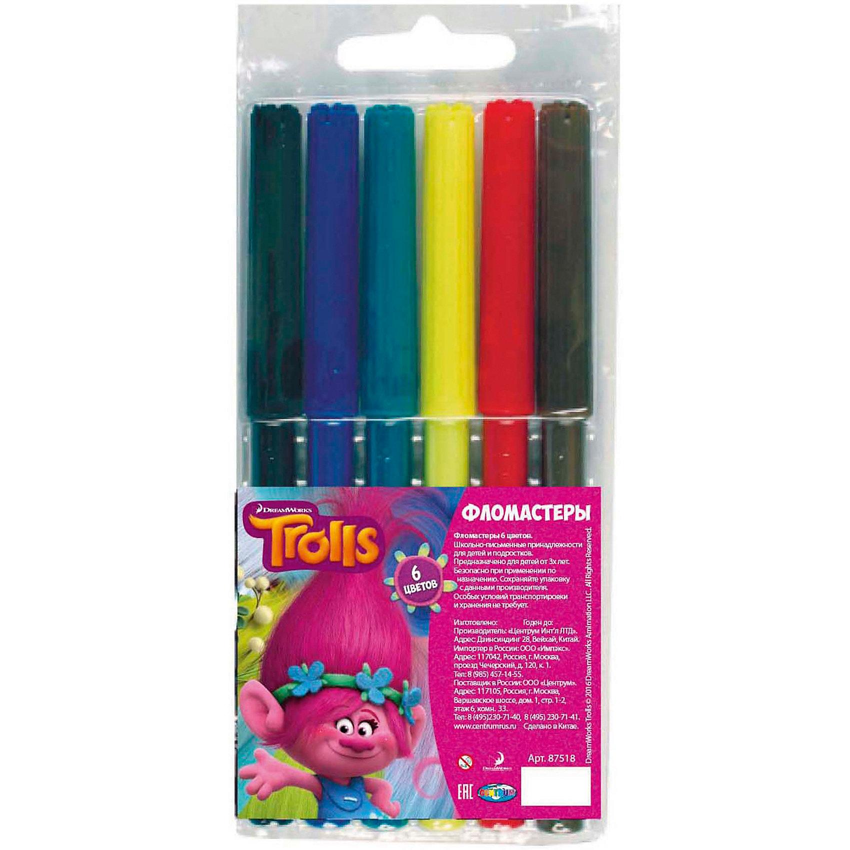 Фломастеры Тролли, 6 цветов, на водной основе с вентилируемым колпачком.Тролли<br>Фломастеры Тролли, 6 цветов, на водной основе с вентилируемым колпачком, Centrum (Центрум)<br><br>Характеристики: <br><br>• яркие цвета<br>• фломастеры на водной основе<br>• хранятся при любой температуре<br><br>Яркие фломастеры от Centrum станут прекрасным подарком начинающему художнику. В комплект входят 6 фломастеров с вентилируемым колпачком. Они обладают морозостойкостью и устойчивостью к перепадам температур. Ребенок сможет брать фломастеры с собой, чтобы порадовать друзей своими рисунками.<br><br>Фломастеры Тролли, 6 цветов, на водной основе с вентилируемым колпачком, Centrum (Центрум) вы можете купить в нашем интернет-магазине.<br><br>Ширина мм: 10<br>Глубина мм: 65<br>Высота мм: 160<br>Вес г: 42<br>Возраст от месяцев: 36<br>Возраст до месяцев: 144<br>Пол: Унисекс<br>Возраст: Детский<br>SKU: 5044934