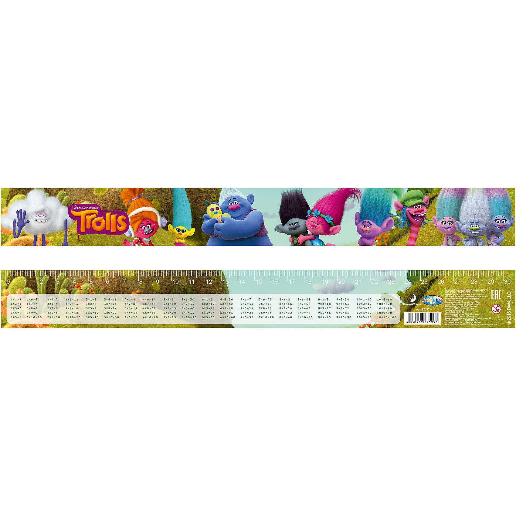 Линейка 3D Тролли с таблицей умножения, 30 смЛинейка 3D Тролли с таблицей умножения, 30 см, Centrum (Центрум)<br><br>Характеристики:<br><br>• есть таблица умножения<br>• 3D эффект<br>• яркий дизайн с любимыми героями мультфильма <br>• материал: пластик<br>• размер: 30 см<br><br>Линейка - необходимый инструмент для каждого школьника. Красивая линейка от Centrum содержит полную таблицу умножения, которая непременно пригодится в учебе. Кроме того, она имеет привлекательный дизайн с изображением любимых персонажей мультфильма Тролли. С этой линейкой учеба всегда будет в радость!<br><br>Линейку 3D Тролли с таблицей умножения, 30 см, Centrum (Центрум) вы можете купить в нашем интернет-магазине.<br><br>Ширина мм: 1<br>Глубина мм: 42<br>Высота мм: 345<br>Вес г: 9<br>Возраст от месяцев: 36<br>Возраст до месяцев: 144<br>Пол: Унисекс<br>Возраст: Детский<br>SKU: 5044936