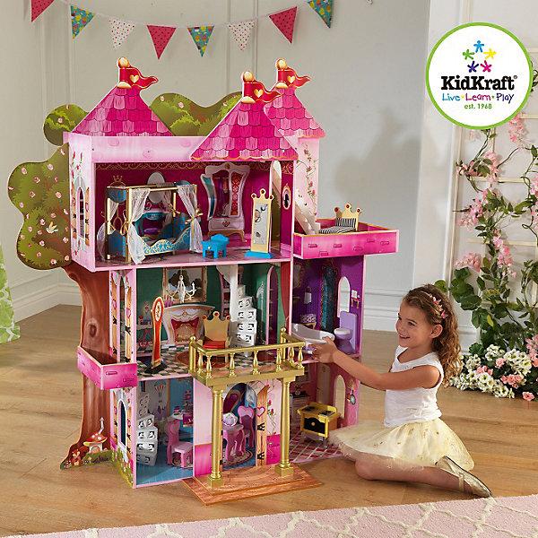 Замок-дом Книга Сказок (Storybook), с мебелью, KidKraftДомики для кукол<br>Замок-дом «Книга Сказок», с мебелью, KidKraft (КидКрафт).<br><br>Характеристики:<br><br>? Материал: МДФ, дерево, пластик, текстиль.<br>? Дом частично открытый (задняя стенка в виде декорации дерева глухая, лицевая часть полностью открыта).<br>? 3 этажа,5 просторных комнат, 3 балкона. (Приставной балкон с колоннами можно передвигать.)<br>? Цвет: розовый, белый, золотой.<br>? Подходит для кукол высотой до 30 см. <br>? Конструкция продается в разобранном виде. Инструкция по сборке входит в комплект.<br>? Размер игрушки в собранном виде - 122х50х133 см.<br>? Размер упаковки - 90х43х56х23.<br>? Вес: 24 кг.<br><br>В комплекте:<br><br>• 14 предметов интерьера. <br>• Каркас замка.<br><br>Замок-дом Книга Сказок – само название говорит о том, что это сказочный дворец для принцесс и волшебниц! Очаровательный замок предназначен для сказочных сюжетно-ролевых игр. Домик выполнен в нежных розовых тонах с ярко - розовой крышей, украшенной тремя башенками с золотыми флагштоками. Внутренний декор интерьера поддерживает сказочный дизайн замка – такой же яркий и стилизованный. Розовый, голубой, сиреневый, зеленый и малиновый – каждое помещение в замке имеет свое цветовое решение. В доме 3 этажа,5 просторных комнат, 3 балкона. На первом этаже располагаются кухня и столовая, на втором – ванная и королевская гостиная, на третьем – спальня и балкон, на крыше – мансарда. Установив приставную лестницу в удобном для игры месте, у замка появляется парадное крыльцо с колоннами и красивый навесной балкон на уровне второго этажа. По бокам замка располагаются 2 балкона (небольшой на 2-м этаже, и большой на 3-м). Внутри помещений предусмотрены резные винтовые лестницы для кукол, а с большого балкона на крышу ведет классическая строгая лестница. Окна и двери в домике выполнены в формате арок.<br> Игры с таким домиком помогают развить в девочке фантазию, творческие способности, поможет ребенку почувствовать себя взрослой и сам
