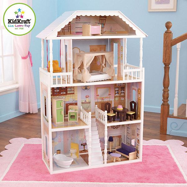 Кукольный домик для Барби Саванна (Savannah), с мебелью, 14 предм., KidKraftДомики для кукол<br>Кукольный домик для Барби Саванна, с мебелью, KidKraft (КидКрафт).<br><br>Характеристики:<br><br>? Материал: дерево, МДФ, текстиль.<br>? Дом частично открытый (задняя стенка глухая, лицевая часть полностью открыта).<br>? 3 этажа,6 просторных комнат, мансарда.<br>? Цвет: белый.<br>? Подходит для кукол высотой до 30 см. <br>? Конструкция продается в разобранном виде. Инструкция по сборке входит в комплект.<br>? Размер игрушки в собранном виде - 85х34х130 см.<br>? Размер упаковки - 96х48х27 см.<br>? Вес: 20 кг<br><br>В комплекте:<br><br>• 14предметов интерьера;<br>• каркас домика<br><br>Кукольный домик для Барби Саванна (Savannah), с мебелью, KidKraft (КидКрафт) – это игрушка- мечта от американского производителя. Домик выполнен в бело-розовых тонах с голубой крышей, имитирующей черепичную кладку. Внутренние фасады детально декорированы, причем декор у каждого помещения уникален. Стены «оклеены обоями разных пастельных цветов. На стенах нарисованы дополнительные элементы интерьера. Пол декорирован под различные типы покрытий - плитка, ковролин. В доме 3 этажа,6 просторных комнат, мансарда, 2 балкона, расположенных симметрично на 3 этаже с обеих сторон. На первом этаже ванная комната, гостиная. На втором этаже кухня и столовая. На третьем спальня, а на мансарде - детская. Первый и второй этажи соединяет впечатляющая белоснежная парадная лестница. Юная леди, проявив фантазию, самостоятельно может расположить комнаты по своему вкусу. Игры с таким домиком помогают развить в девочке фантазию, творческие способности, поможет ребенку почувствовать себя взрослой и самостоятельной. Материалы, из которых изготовлен домик, полностью соответствуют российским стандартам безопасности. Ваша малышка будет счастлива, получить в подарок славный нарядный домик для своих любимых кукол!<br><br>Кукольный домик для Барби Саванна (Savannah), с мебелью, KidKraft (КидКрафт), можно купить в нашем инте