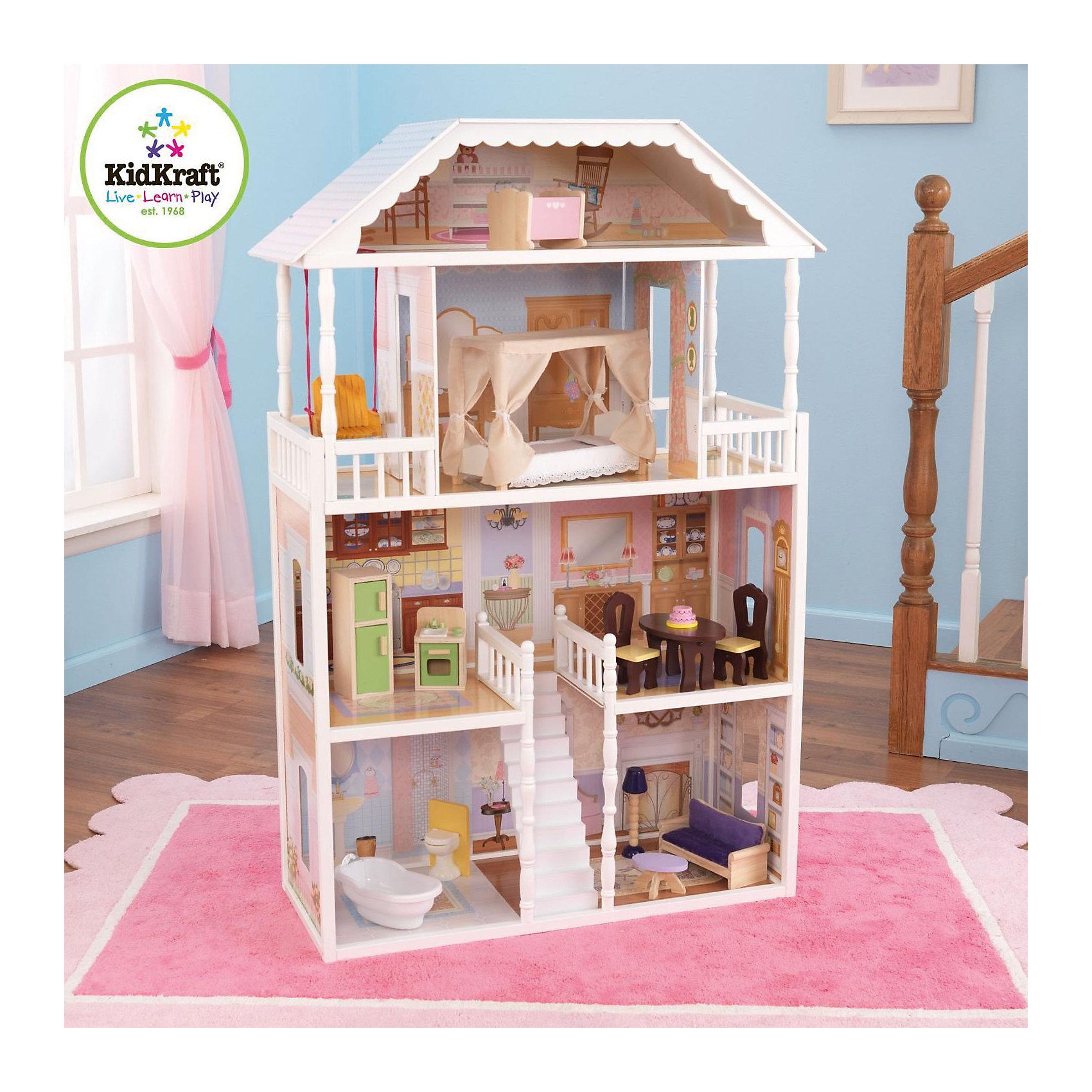 KidKraft Кукольный домик для Барби Саванна (Savannah), с мебелью, 14 предм., KidKraft kidkraft кукольный домик амелия с мебелью 14 элементов