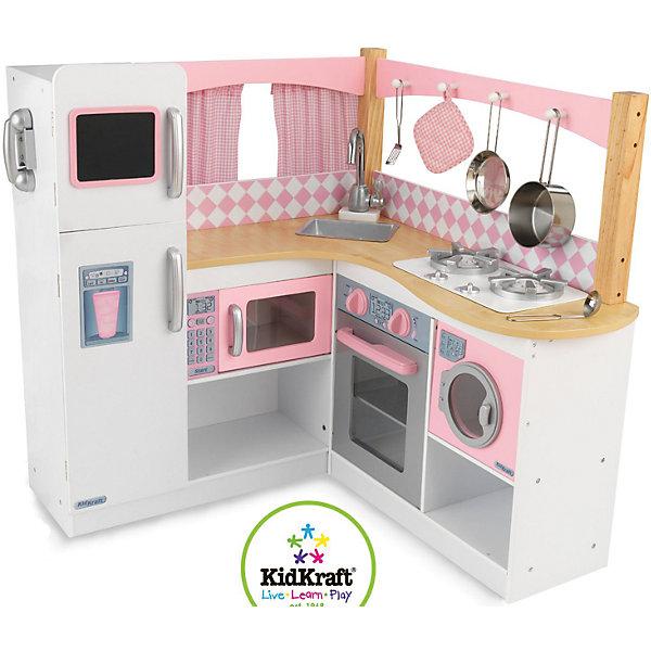 Большая кухня Изысканный уголок (Grand Gourmet Corner Kitchen), деревянная, KidKraftДетские кухни<br>Большая деревянная кухня Изысканный уголок, KidKraft (КидКрафт).<br><br>Характеристики:<br><br>? Материал: дерево, МДФ, текстиль.<br>? Угловая кухня.<br>? Все дверцы открываются ( в холодильник можно положить игрушечные продукты, в духовку поставить выпечку, грязное белье сложить в машинку для стирки).<br>? Цвет: белый, нежно-розовый.<br>? Фартук (стена) открытый, с занавесками.<br>? Конструкция продается в разобранном виде. Инструкция по сборке входит в комплект.<br>? Размер игрушки в собранном виде - 91х86х92 см.<br>? Размер упаковки - 71х105х14см.<br>? Вес: 29 кг.<br><br>В комплекте:<br><br>• 2 лопатки, кастрюля, горшок, телефонный аппарат, прихватка, меловая доска для записи памяток;<br>• каркас кухни.<br><br>Большая кухня Изысканный уголок, KidKraft (КидКрафт) – это мечта каждой девочки! Этот игровой набор представляет собой кухонный уголок в стиле «Прованс». Функциональные модули в данной кухне представлены белым двухкамерным холодильником, розовой микроволновой печью, стиральной машиной, духовым шкафом под сталь, белой варочной поверхностью с «чугунной» решеткой и мойкой со смесителем. Дверцы холодильника, духовки, СВЧ-печи и стиральной машины открываются и закрываются, ручки варочной поверхности, смесителя и духовки вращаются, трубка снимается с телефонного аппарата, а мойку можно доставать из столешницы для более качественного ухода за ней. Игровые аксессуары имитируют настоящие предметы утвари: прихватка пошита из розовой ткани, а посуда и утварь изготовлены из металла и практически неотличимы.<br>Несомненно, Ваша девочка получит огромное удовольствие, примеряя на себя роль хозяйки, в настоящей кухне Изысканный уголок, KidKraft (КидКрафт)!<br><br>Большую кухню Изысканный уголок, KidKraft (КидКрафт), можно купить в нашем интернет – магазине.<br><br>Ширина мм: 1050<br>Глубина мм: 710<br>Высота мм: 140<br>Вес г: 29000<br>Возраст от месяцев: 36<br>Возраст до ме