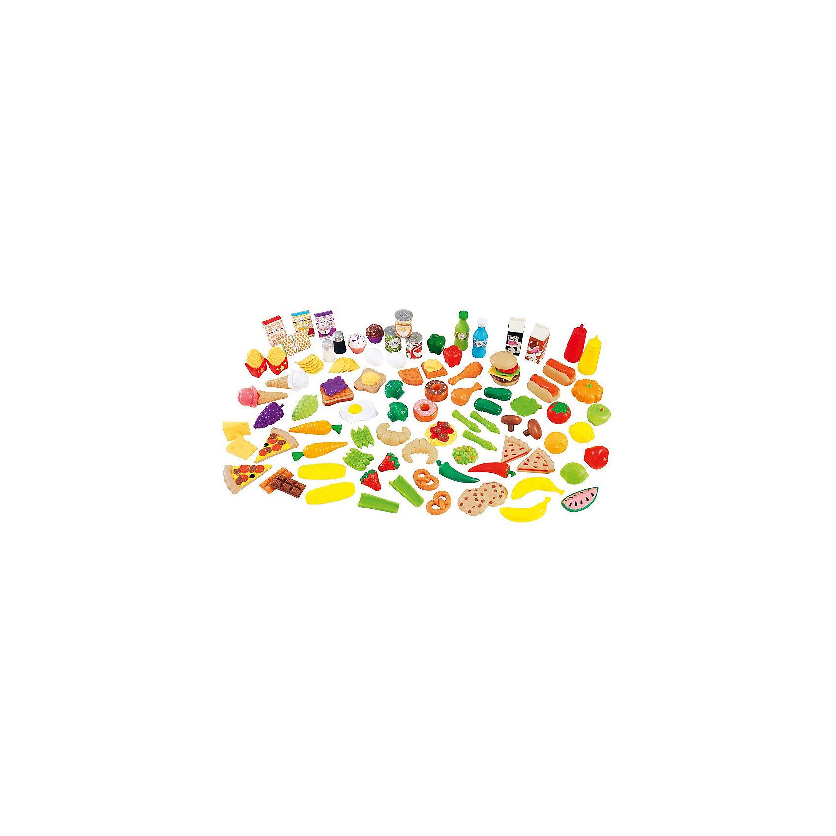 Набор еды Вкусное удовольствие, 115 элементов, KidKraftНабор еды Вкусное удовольствие, 115 элементов, KidKraft (КидКрафт).<br><br>Характеристики:<br><br>? Материал: пластик.<br>? Фигурки, имитирующие продукты питания --115 элементов.<br>? Размер упаковки - 33х35х17см.<br>? Вес: 1,2 кг.<br><br>Набор еды Вкусное удовольствие- это набор для игры на детской кухне. Все элементы имитируют настоящие продукты питания. В набор еды Вкусное удовольствие входят: угощения, выпечка - крендельки, пицца, печенье, рогалики и т.д., фрукты, овощи, 2 куриные ножки, гамбургер, 2 сосиски в тесте и т.д., коробочки с едой, банки консервы, 2 рожка с мороженым и многое другое. С таким ассортиментом готовить на детской кухне одно удовольствие!<br><br>Набор еды Вкусное удовольствие, 115 элементов, KidKraft (КидКрафт), можно купить в нашем интернет – магазине.<br><br>Ширина мм: 320<br>Глубина мм: 260<br>Высота мм: 170<br>Вес г: 1200<br>Возраст от месяцев: 36<br>Возраст до месяцев: 120<br>Пол: Женский<br>Возраст: Детский<br>SKU: 5044992