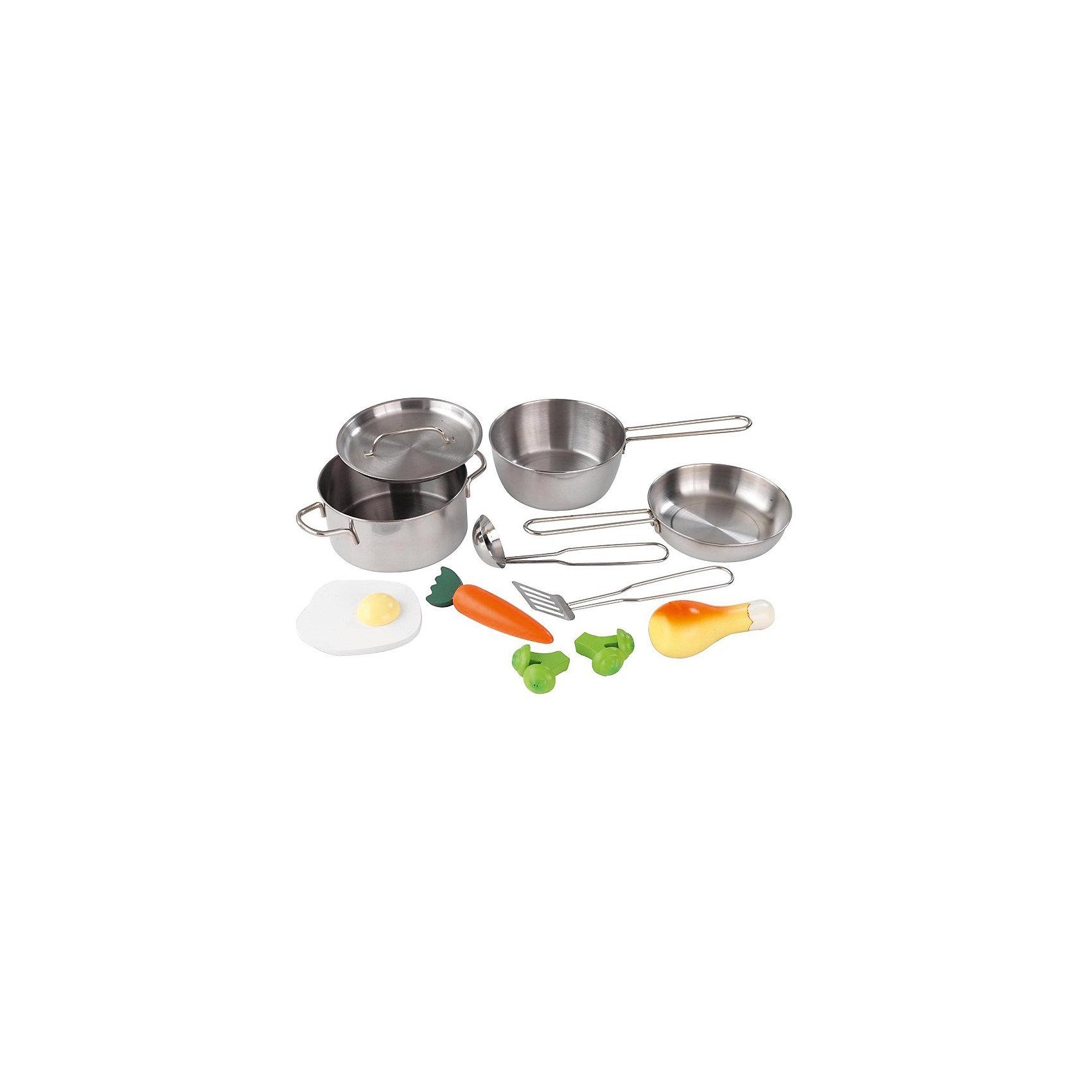 Игровой набор Игрушечная посуда, 11 предм., метталическая, KidKraftПосуда и аксессуары для детской кухни<br>Игровой набор Игрушечная посуда, 11 предметов, металлическая, KidKraft (КидКрафт).<br><br>Характеристики:<br><br>• Материал: металл, пластик.<br>• Размеры упаковки: 9 ? 26 ? 18 см.<br>• В набор входят: две металлические кастрюли, одна металлическая банка, один шпатель из металла, один металлический ковш, два куска брокколи, одна куриная ножка; одна морковь, одно яйцо.<br><br>Такой набор металлической посуды KidKraft отлично дополнит кухню маленькой хозяйки. В него входит все необходимое для приготовления обеда куклам. Аксессуары сделаны из металла, стилизованы под нержавеющую сталь. Данный набор подходит к кухням, выдержанным в современном стиле. <br><br>Игровой набор Игрушечная посуда, 11 предметов, металлическая, KidKraft (КидКрафт), можно купить в нашем интернет - магазине.<br><br>Ширина мм: 260<br>Глубина мм: 180<br>Высота мм: 90<br>Вес г: 800<br>Возраст от месяцев: 36<br>Возраст до месяцев: 120<br>Пол: Женский<br>Возраст: Детский<br>SKU: 5044994