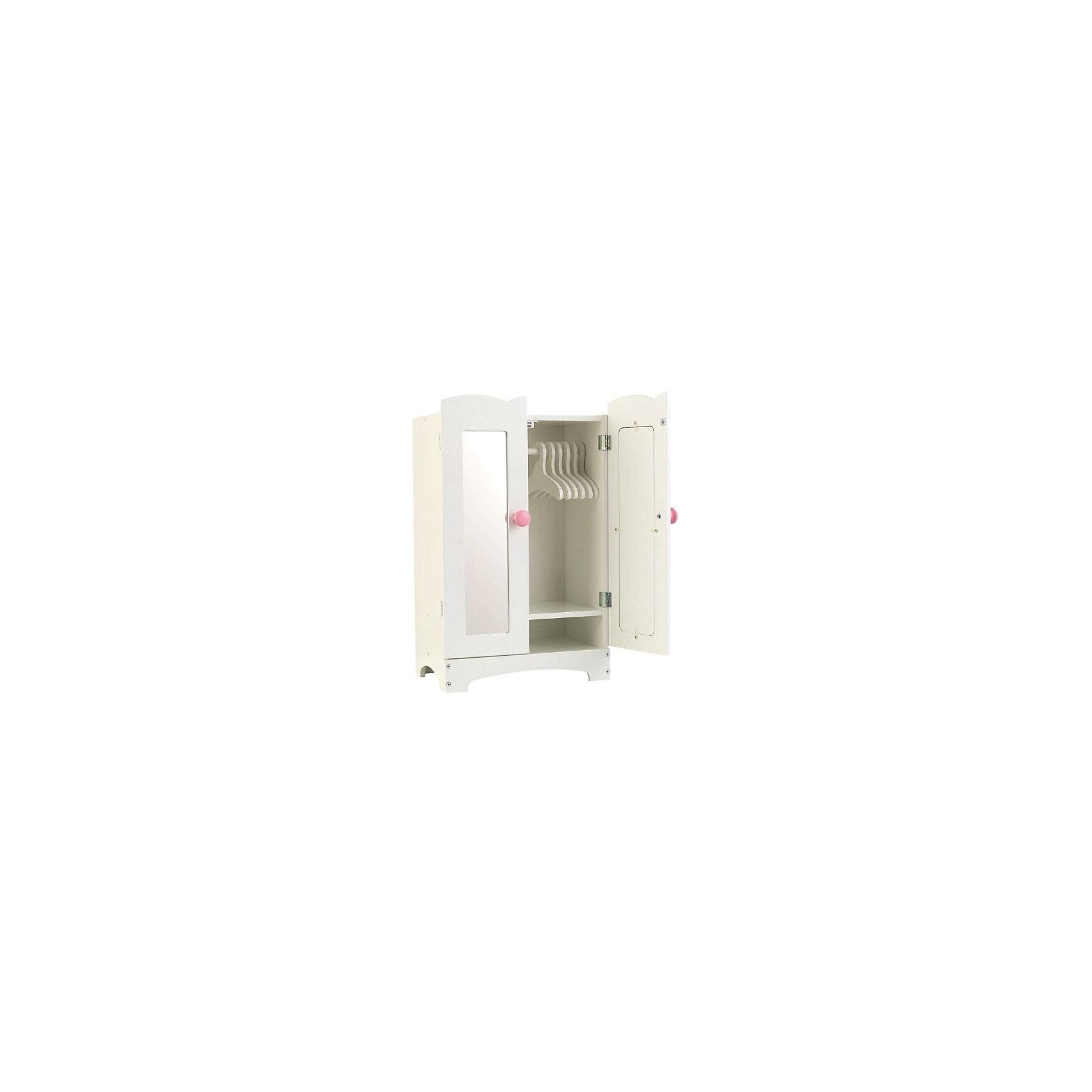 Кукольный шкаф для одежды, KidKraftКукольный шкаф для одежды, KidKraft (КидКрафт).<br><br>Характеристики:<br><br>• Материал: дерево.<br>• Цвет: белый.<br>• Размер игрушки: 30 x 22 x 48 см<br>• Вес: 4,3 кг<br>• Для детей от 3 лет<br><br>Очаровательный кукольный шкаф для одежды KidKraft - необходимый предмет мебели для наведения порядка в кукольном гардеробе. Шкафчик выполнен из дерева, окрашен в белый цвет, декорирован розовыми круглыми ручками. Внутри шкафчика 6 вешалок, на которые можно развесить кукольные платья. Таким образом, ваша девочка будет приучаться к аккуратности. На дверцах шкафа -зеркальные панели, как у настоящего «взрослого» шкафа.<br><br>Кукольный шкаф для одежды, KidKraft (КидКрафт), можно купить в нашем интернет – магазине.<br><br>Ширина мм: 520<br>Глубина мм: 350<br>Высота мм: 90<br>Вес г: 4300<br>Возраст от месяцев: 36<br>Возраст до месяцев: 120<br>Пол: Женский<br>Возраст: Детский<br>SKU: 5044995