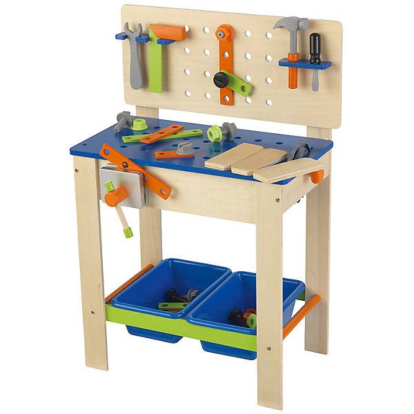 Игровой набор Верстак с инструментами, KidKraftНаборы инструментов<br>Игровой набор Верстак с инструментами, KidKraft (КидКрафт).<br><br>Характеристики:<br><br>• Материал: дерево, МДФ.<br>• Размер игрушки: 55 x 38 x 80 см.<br>• Размер упаковки: 36 ? 78 ? 12 см.<br>• Вес: 7 кг<br><br>В комплект входит:<br><br>• верстак,<br>• инструменты (отвертка, молоток, угловая линейка, зажим пила с вращающимся лезвием, болты и гайки),<br>• крепежные элементы,<br>• ящики для хранения - 2 шт.<br><br>Такой игровой комплект обязательно пригодится юному мастеру! Каждый мужчина, даже самый маленький, мечтает о хорошем наборе инструментов. Верстак выглядит очень реалистично и дополнен различными аксессуарами - креплениями, инструментами, тисками, планками, болтами, гайками и другими предметами. Элементы набора из натуральной древесины, идеально отшлифованы и покрыты нетоксичными красками. В столе и стойке верстака сделаны технологические отверстия, которые можно использовать для вкручивания болтов и шурупов. Два пластиковых ящика для хранения деталей, обеспечат порядок на рабочем месте. Данный набор развлечёт малыша и поможет развить у ребёнка фантазию, моторику рук, любовь к труду и порядку. <br><br>Игровой набор Верстак с инструментами, KidKraft (КидКрафт), можно купить в нашем интернет – магазине.<br><br>Ширина мм: 780<br>Глубина мм: 360<br>Высота мм: 120<br>Вес г: 7000<br>Возраст от месяцев: 36<br>Возраст до месяцев: 120<br>Пол: Мужской<br>Возраст: Детский<br>SKU: 5044996