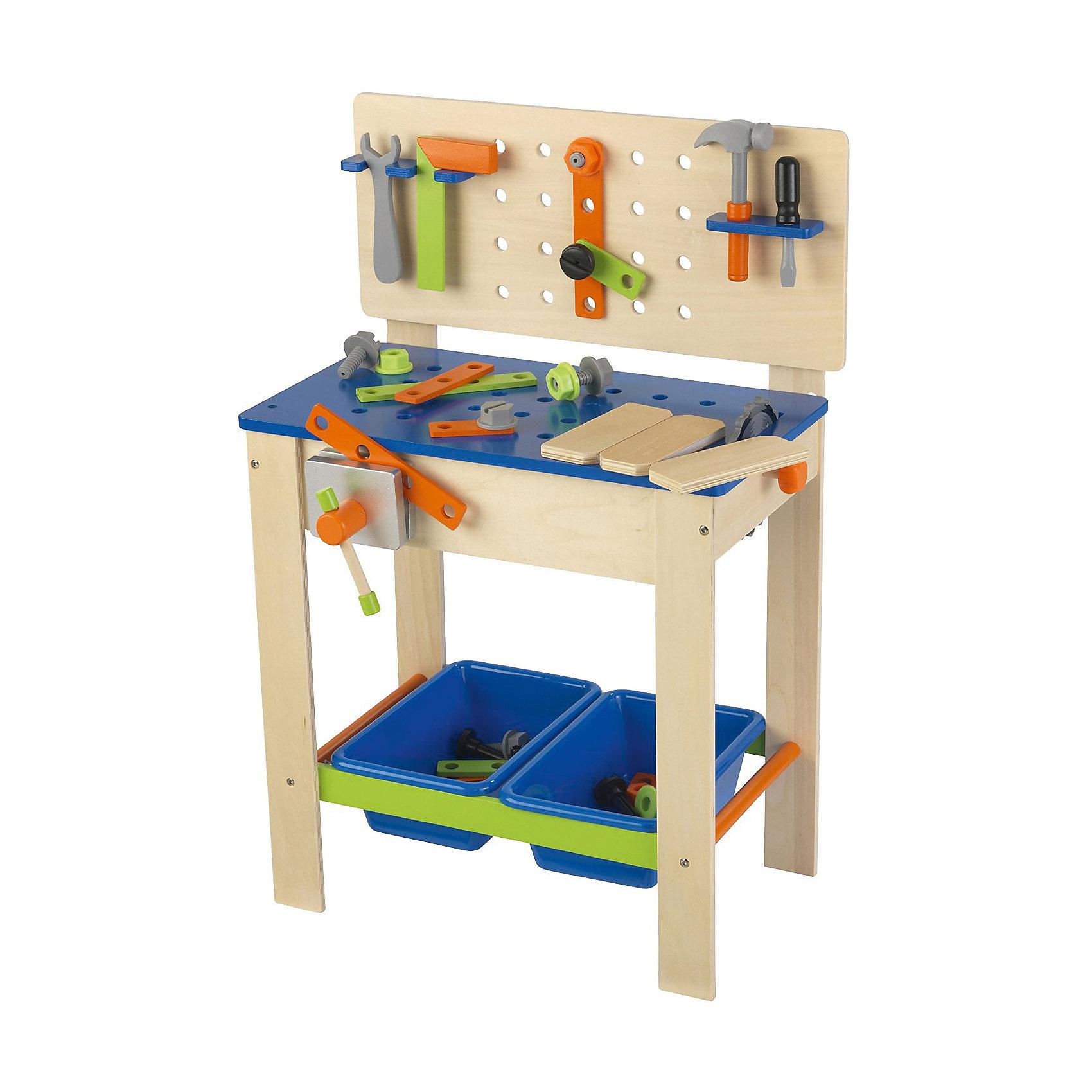 Игровой набор Верстак с инструментами, KidKraftМастерская и инструменты<br>Игровой набор Верстак с инструментами, KidKraft (КидКрафт).<br><br>Характеристики:<br><br>• Материал: дерево, МДФ.<br>• Размер игрушки: 55 x 38 x 80 см.<br>• Размер упаковки: 36 ? 78 ? 12 см.<br>• Вес: 7 кг<br><br>В комплект входит:<br><br>• верстак,<br>• инструменты (отвертка, молоток, угловая линейка, зажим пила с вращающимся лезвием, болты и гайки),<br>• крепежные элементы,<br>• ящики для хранения - 2 шт.<br><br>Такой игровой комплект обязательно пригодится юному мастеру! Каждый мужчина, даже самый маленький, мечтает о хорошем наборе инструментов. Верстак выглядит очень реалистично и дополнен различными аксессуарами - креплениями, инструментами, тисками, планками, болтами, гайками и другими предметами. Элементы набора из натуральной древесины, идеально отшлифованы и покрыты нетоксичными красками. В столе и стойке верстака сделаны технологические отверстия, которые можно использовать для вкручивания болтов и шурупов. Два пластиковых ящика для хранения деталей, обеспечат порядок на рабочем месте. Данный набор развлечёт малыша и поможет развить у ребёнка фантазию, моторику рук, любовь к труду и порядку. <br><br>Игровой набор Верстак с инструментами, KidKraft (КидКрафт), можно купить в нашем интернет – магазине.<br><br>Ширина мм: 780<br>Глубина мм: 360<br>Высота мм: 120<br>Вес г: 7000<br>Возраст от месяцев: 36<br>Возраст до месяцев: 120<br>Пол: Мужской<br>Возраст: Детский<br>SKU: 5044996
