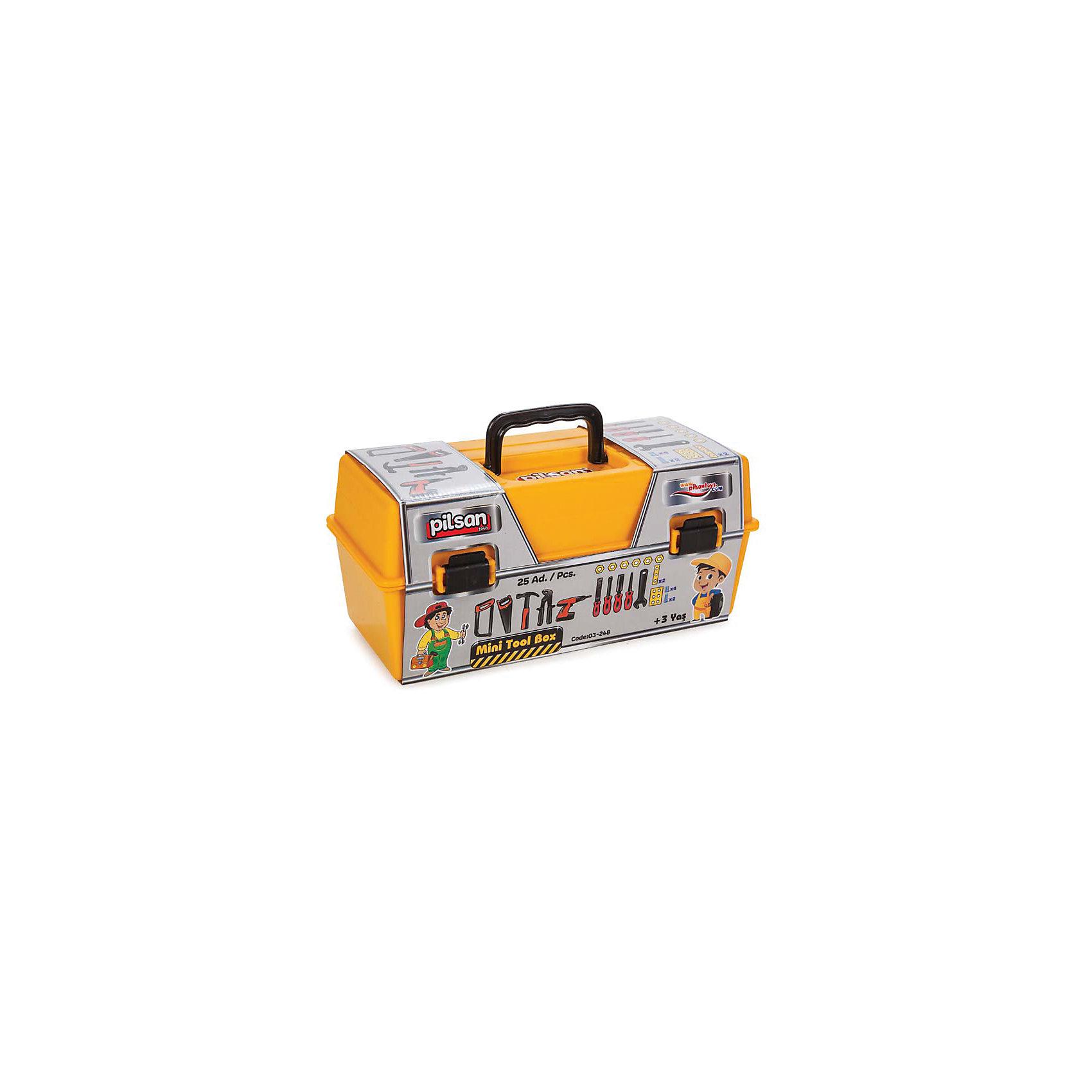 Инструменты Mini Tool, в ящике, PilsanМини ящик для инструментов из 25 частей<br>Для детей от 3 лет<br>Стимулирует воображение и творчество<br>Развивает и совершенствует координацию и технические навыки ребенка<br><br>Ширина мм: 340<br>Глубина мм: 160<br>Высота мм: 150<br>Вес г: 840<br>Возраст от месяцев: 36<br>Возраст до месяцев: 120<br>Пол: Унисекс<br>Возраст: Детский<br>SKU: 5044997