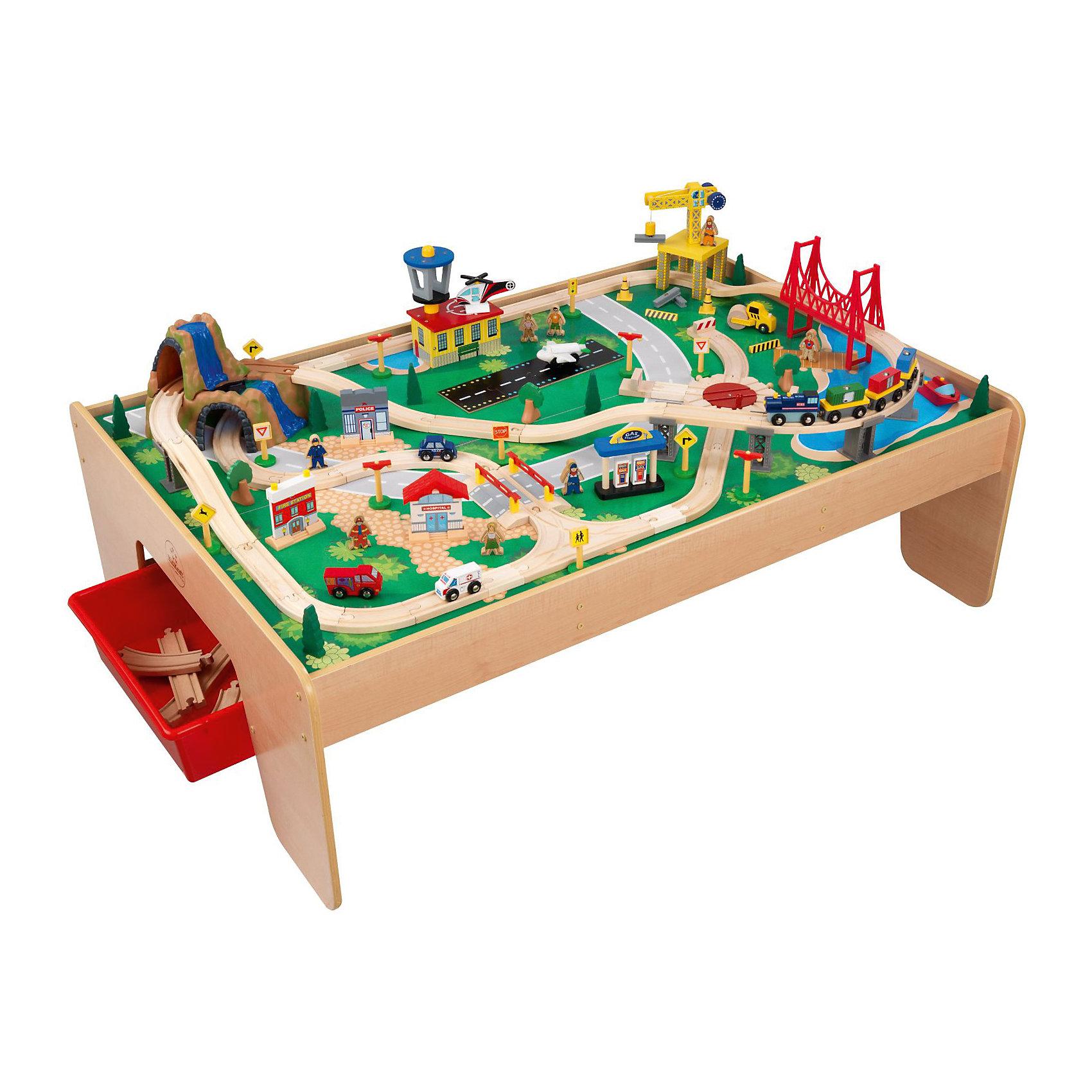 Деревянная железная дорога Горный водопад, со столом, KidKraftИгрушечная железная дорога<br>Деревянная железная дорога Горный водопад, со столом, KidKraft (КидКрафт).<br><br>Характеристики:<br><br>? Материалы: дерево, пластик.<br>? 120 игровых элементов.<br>? Размеры игрушки: 124x87x41 см<br>? Размер стола: 95х51,5х44 см.<br>? Размер упаковки: 49 ? 135 ? 22 см.<br>? Вес: 27 кг<br><br>Железная дорога со столом «Горный водопад» KidKraft – великолепный набор с огромным количеством игровых элементов. Дорога выполнена из цельного массива березы. Игровая поверхность устанавливается на специальный стол, с нанесенной рельефной местностью. Здесь есть большая гора с 2-мя водопадами и туннелем, огромный мост, красивые изгибистые дороги, по которым ездит паровоз с тремя гружеными вагончиками. Также есть отделение полиции, пожарная станция, аэропорт с вертолетом, самолетом, строительная площадка с краном, заправочная станция, деревья и фигурки человечков. Выступающие части игрового стола закруглены с целью предотвращения повреждений у ребенка. Внушительные размеры игрушки позволяют играть сразу нескольким детям. Детали дороги можно аккуратно хранить в выдвижных ящиках. Удивите своего малыша, подарив ему деревянную железную дорогу Горный водопад, со столом, KidKraft (КидКрафт)!<br><br>Деревянную железную дорогу Горный водопад, со столом, KidKraft (КидКрафт), можно купить в нашем интернет – магазине.<br><br>Ширина мм: 1350<br>Глубина мм: 490<br>Высота мм: 220<br>Вес г: 27000<br>Возраст от месяцев: 36<br>Возраст до месяцев: 120<br>Пол: Унисекс<br>Возраст: Детский<br>SKU: 5044998
