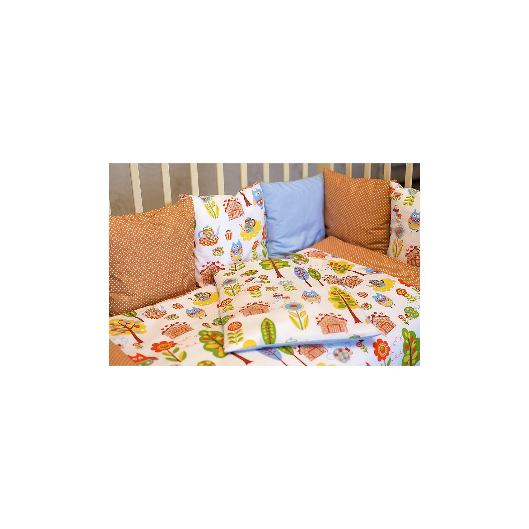 Постельное белье Совы 6 пред., byTwinzКомплект постельного белья byTwinz состоит из 6-ти предметов: бортик из подушек, подушка, одеяло, наволочка, пододеяльник и простынь. Постельное белье выполнено из гипоаллергенных материалов, наполнитель подушек и одеяла экологически чистый. <br><br>Мягкий бортик состоит из 12-ти подушек, которые размещаются по периметру кроватки и крепятся к бортику с помощью тканевых завязок. Наволочки подушек съемные. <br>Пододеяльник застегивается на молнию, которая находится с боковой стороны изделия (продольный край). <br>Простынь на резинке надежно фиксируется, не сминается и не сползает. <br><br>Комплект в кроватку «Совы» предназначен для детских кроваток размером 120х60 см и 125х65 см. <br><br>Дополнительная информация:<br><br>Размеры: <br><br>- бортики-подушки, 12 шт.: 30х30 см каждая;<br>- наволочки на молнии на бортики-подушки, 12 шт.: 33х33 см каждая;<br>- детская подушка: 35х45 см;<br>- детское одеяло: 100х140 см;<br>- пододеяльник на молнии: 105х145 см;<br>- наволочка: 36х46 см; <br>- простынь на резинке: 125х65 см.<br><br>Материал: 100% хлопок<br>Наполнитель (подушки, одеяло): холлофайбер<br><br>Постельное белье Совы 6 пред., byTwinz можно купить в нашем интернет-магазине.<br><br>Ширина мм: 580<br>Глубина мм: 580<br>Высота мм: 180<br>Вес г: 3000<br>Возраст от месяцев: 0<br>Возраст до месяцев: 36<br>Пол: Мужской<br>Возраст: Детский<br>SKU: 5045062