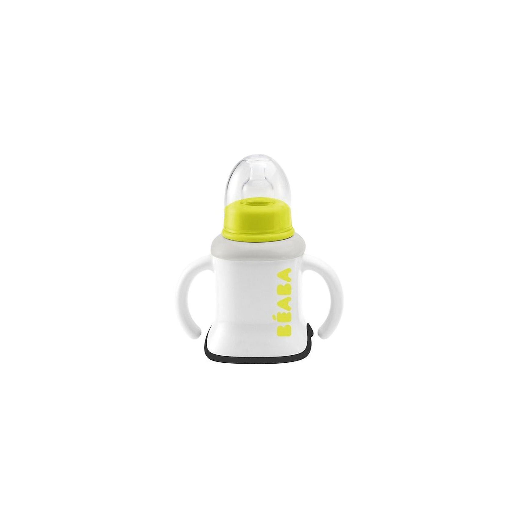 Поильник 3 в 1, 150 мл, Beaba, салатовыйДетский поильник Beaba 3в1 позволяет использовать его с соской-насадкой, насадкой для поильника или в качестве кружки с ручками. <br><br>Насадка с соской надевается на поильник, малыш может употреблять жидкую смесь или воду. Соска силиконовая, классической формы. <br><br>Облегчить переход от бутылочки к кружке поможет поильник. Полипропиленовый носик с отверстиями, через которые поступает сок или водичка. Насадка герметично закрывается, жидкость не проливается. <br><br>Кружка используется для самостоятельного питья малышом, как из взрослой чашки. Двойные ручки помогают крепче удерживать чашку, симметрично располагают чашку в обеих ручках малыша. <br><br>Дополнительная информация:<br><br>- нескользящая насадка на дне поильника Beaba;<br>- плавный переход от бутылочки к чашке;<br>- поильник-дозатор;<br>- эргономичные ручки.<br><br>Объем: 150 мл<br><br>Материал: полипропилен, силикон, пластик<br><br>Поильник Beaba можно мыть в посудомоечной машине. <br><br>Поильник 3 в 1, 150 мл, Beaba, салатовый можно купить в нашем интернет-магазине.<br><br>Ширина мм: 126<br>Глубина мм: 100<br>Высота мм: 155<br>Вес г: 120<br>Возраст от месяцев: 6<br>Возраст до месяцев: 18<br>Пол: Мужской<br>Возраст: Детский<br>SKU: 5045107