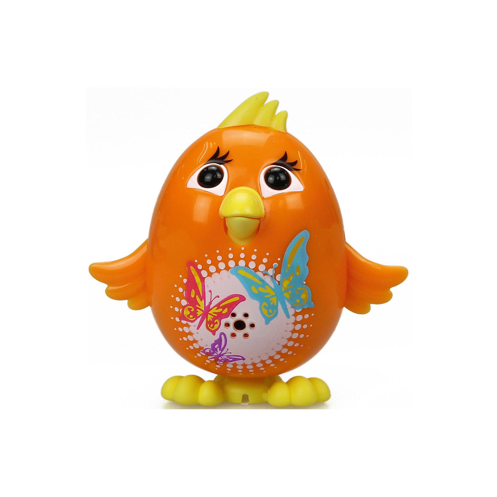 Цыпленок с кольцом, оранжевый, DigiBirdsИнтерактивные животные<br>Характеристики товара:<br><br>- цвет: оранжевый;<br>- материал: пластик;<br>- особенности: издает звуки, регируя на действия ребенка;<br>- интерактивная игрушка;<br>- размер упаковки: 64х15х10 см;<br>- вес: 900 г.<br><br>Такая симпатичная интерактивная игрушка не оставит ребенка равнодушным! Какой малыш откажется от поющего птенца?! Игрушка очень качественно выполнена, поэтому она станет отличным подарком ребенку. Он издает более 55 звуков! Такой птенец отлично тренирует у ребенка навык заботы о других и ответственность. С ним можно придумать множество сюжетов, разыгрывая которые, ребенок развивает мелкую моторику, воображение и творческое мышление.<br>Изделие произведено из высококачественного материала, безопасного для детей.<br><br>Цыпленка с кольцом от DigiBirds можно купить в нашем интернет-магазине.<br><br>Ширина мм: 152<br>Глубина мм: 64<br>Высота мм: 102<br>Вес г: 992<br>Возраст от месяцев: 36<br>Возраст до месяцев: 2147483647<br>Пол: Унисекс<br>Возраст: Детский<br>SKU: 5047559