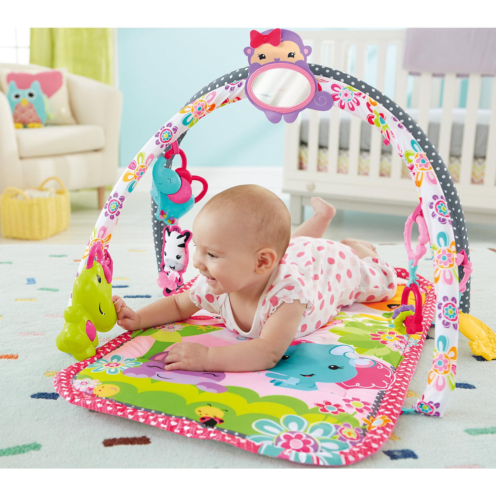 Развивающий коврик, розовый, Fisher PriceРазвивающие коврики<br>Развивающий коврик Fisher Price (Фишер Прайс) предназначен для девочек - он выполнен в ярком дизайне, преобладающий цвет - розовый. Яркие игрушки, расположенные над ковриком, побуждают Вашу малышку к активности - ей хочется дотянуться до них, схватить, потрогать на ощупь. На этом коврике можно играть и одновременно с этим развиваться в трех положениях:<br><br>Лежа на спинке - ребенок тянет руки к игрушкам, пытается их схватить, видит свое отражение в зеркале, а лежа на животике - ребенок с интересом рассматривает яркие рисунки на коврике, тянется к игрушкам, расположенным снизу, играет с ними. <br>Сидя - ребенок играет с игрушками, рассматривает свое отражение в зеркале. <br><br>Дополнительная информация:<br><br>-возраст – 0-12 месяцев <br>- пол: для девочек<br>- бренд: Fisher-Price (Mattel)<br>- размер упаковки: 0.535 * 0.065 * 0.405 см<br>- вес: 0.985 кг<br><br>Развивающий коврик, розовый   торговой марки     Fisher Price (Фишер Прайс) можно купить в нашем интернет-магазине.<br><br>Ширина мм: 533<br>Глубина мм: 64<br>Высота мм: 405<br>Вес г: 1362<br>Возраст от месяцев: 0<br>Возраст до месяцев: 12<br>Пол: Женский<br>Возраст: Детский<br>SKU: 5047626