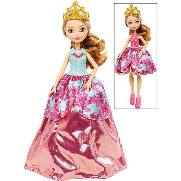 Кукла Эшлин Элла в трансформирующемся платье 2-в-1, Ever After HighКуклы<br>Кукла Эшлин представлена в прекрасном трансформирующемся платье с великолепной короной золотого цвета. Платье этой очаровательной куклы может превратиться в два удивительных наряда. Первый наряд выглядит как настоящее бальное платье, пышное и красивое. Второй наряд - это модное короткое платье, прекрасно подходящее для современных вечеринок. Кукла изготовлена из пластика, а ее замечательное трансформирующееся платье сшито из качественной ткани. Кукла с удивительными нарядами позволит девочкам использовать свою фантазию, придумывая все новые и новые сюжетно-ролевые игры.<br><br>Дополнительная информация:<br><br>- возраст: от 6 лет<br>- пол: для девочек<br>- цвет: бирюзово-розовый.<br>- комплект: 1 кукла, аксессуары.<br>- материал: пластик, текстиль.<br>- размер упаковки: 32.5 * 25 * 6 см.<br>- упаковка: пластиковый бокс.<br>- высота куклы: 27 см.<br>- бренд: Mattel<br>- страна обладатель бренда: США.<br><br>Куклу Эшлин торговой марки Ever After High (Эвер Афтер Хай)   можно купить в нашем интернет-магазине.<br><br>Ширина мм: 65<br>Глубина мм: 255<br>Высота мм: 325<br>Вес г: 405<br>Возраст от месяцев: 72<br>Возраст до месяцев: 144<br>Пол: Женский<br>Возраст: Детский<br>SKU: 5047628