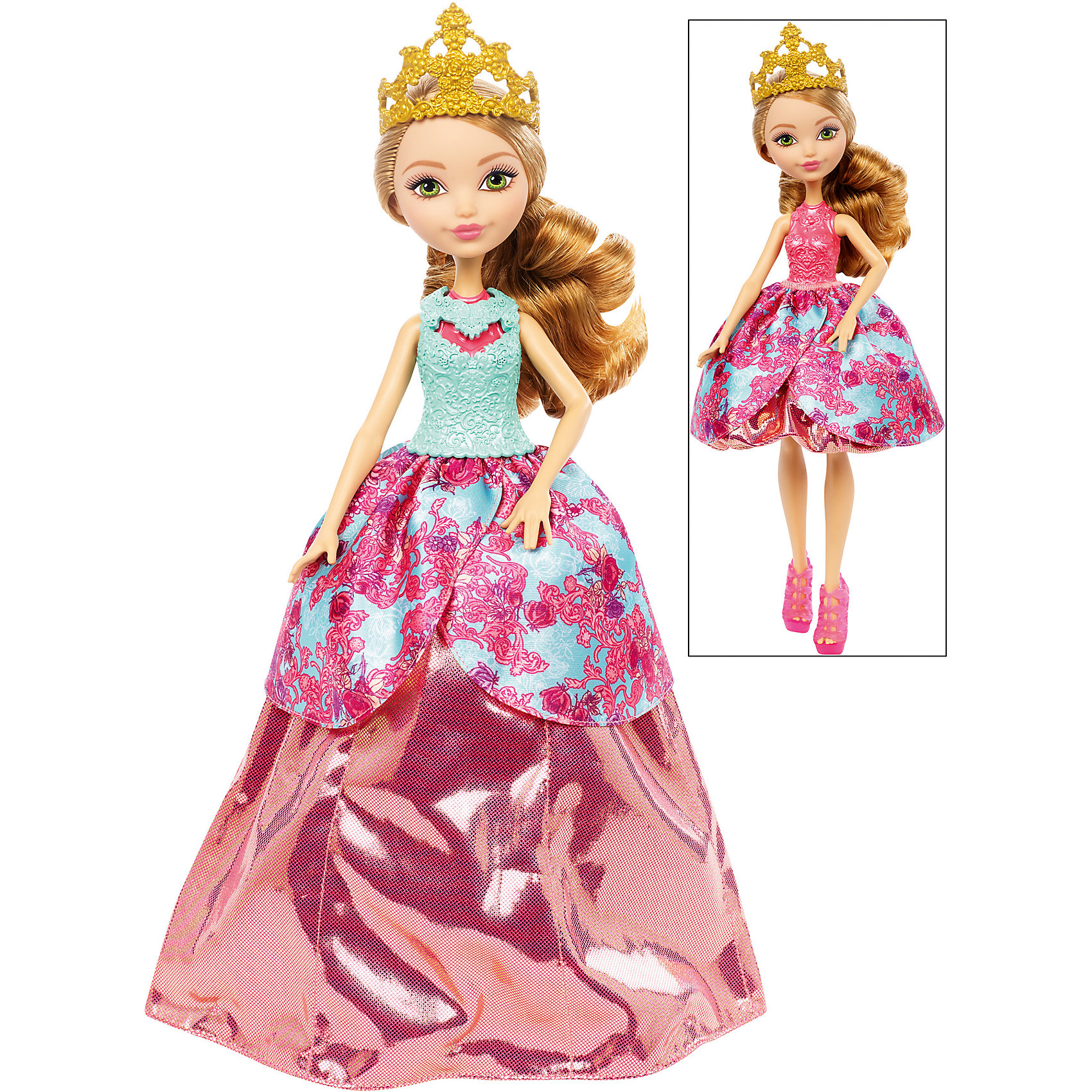 Кукла Эшлин Элла в трансформирующемся платье 2-в-1, Ever After HighEver After High Игрушки<br>Кукла Эшлин представлена в прекрасном трансформирующемся платье с великолепной короной золотого цвета. Платье этой очаровательной куклы может превратиться в два удивительных наряда. Первый наряд выглядит как настоящее бальное платье, пышное и красивое. Второй наряд - это модное короткое платье, прекрасно подходящее для современных вечеринок. Кукла изготовлена из пластика, а ее замечательное трансформирующееся платье сшито из качественной ткани. Кукла с удивительными нарядами позволит девочкам использовать свою фантазию, придумывая все новые и новые сюжетно-ролевые игры.<br><br>Дополнительная информация:<br><br>- возраст: от 6 лет<br>- пол: для девочек<br>- цвет: бирюзово-розовый.<br>- комплект: 1 кукла, аксессуары.<br>- материал: пластик, текстиль.<br>- размер упаковки: 32.5 * 25 * 6 см.<br>- упаковка: пластиковый бокс.<br>- высота куклы: 27 см.<br>- бренд: Mattel<br>- страна обладатель бренда: США.<br><br>Куклу Эшлин торговой марки Ever After High (Эвер Афтер Хай)   можно купить в нашем интернет-магазине.<br><br>Ширина мм: 65<br>Глубина мм: 255<br>Высота мм: 325<br>Вес г: 405<br>Возраст от месяцев: 72<br>Возраст до месяцев: 144<br>Пол: Женский<br>Возраст: Детский<br>SKU: 5047628