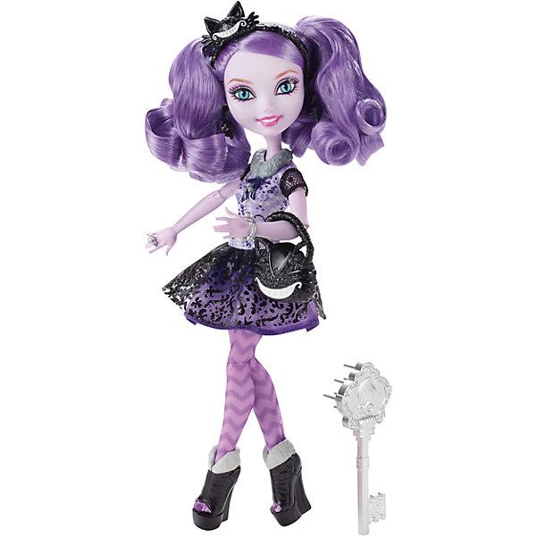 Кукла Китти Чешир, Ever After HighКуклы<br>Кукла Kitty Cheshire, так же, как и сама героиня сериала «Ever After High», прекрасна и чуть безрассудна - ведь она является обитательницей Страны Чудес и дочерью Чеширского кота. От своего папочки Китти унаследовала способность исчезать по частям, и также как и папа-кот, Китти обожает улыбаться. А еще она ужасно любит шалости и всякие веселые проделки. Ну, вся в папу! И как любой кошечке, ей нравится шалить и устраивать странные выходки. Кукла Китти Чешир нарядилась в чудесное платье фиолетового цвета, на её ножках красочные колготки с зигзагообразным рисунком и лакированные ботильоны чёрного цвета. Шарнирная куколка с голубыми глазами с «кошачьими» зрачками и очаровательной улыбкой обладает великолепными фиолетовыми локонами. Её голову украшает маленькая шляпка, а в руках она держит изящную сумочку. <br><br>Дополнительная информация:<br><br>- возраст: от 6 лет<br>- пол: для девочек<br>- комплект: кукла, аксессуары.<br>- материал: пластик, текстиль.<br>- руки и ноги с несколькими точками артикуляции (сгибаются локти, коленки, запястья)<br>- высота куклы: 26 см.<br>- в комплект входит: кукла Китти Чешир, сумочка, расческа, подставка и дневник Китти<br>- страна обладатель бренда: США.<br>- бренд: Mattel<br><br>Купить куклу  Ever After High (Эвер Афтер Хай)  Китти Чешир можно купить в нашем магазине.<br><br>Ширина мм: 65<br>Глубина мм: 205<br>Высота мм: 325<br>Вес г: 363<br>Возраст от месяцев: 72<br>Возраст до месяцев: 120<br>Пол: Женский<br>Возраст: Детский<br>SKU: 5047668