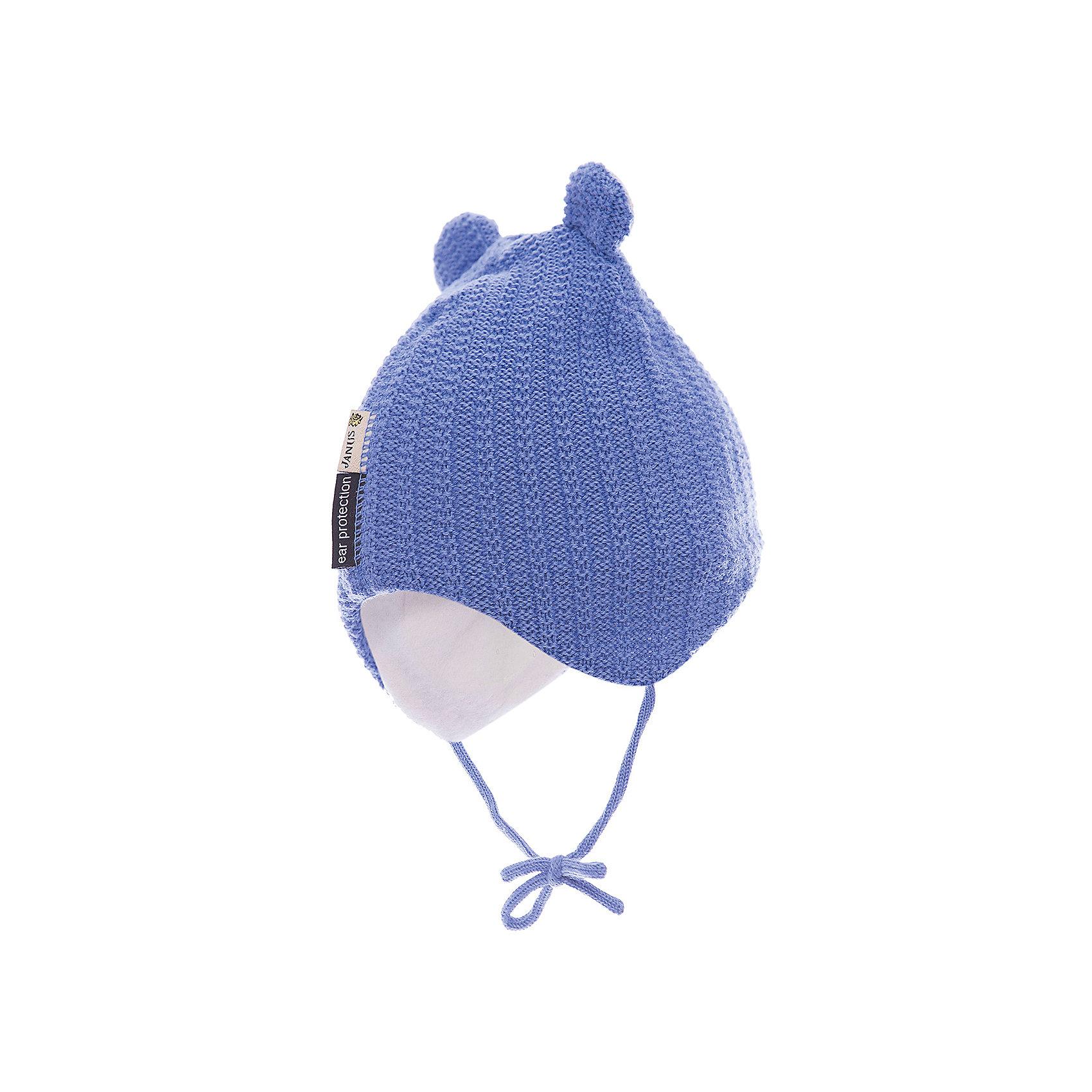 Шапка JanusШапочки<br>Шапка Janus<br>Теплая шапка, надежно защищающая головку и ушки малыша на прогулках, – обязательный элемент детской одежды в холодное время года. Плотная шерстяная шапочка из 100%-ной шерсти мериноса на подкладке из хлопкового трикотажа отвечает самым строгим требованиям заботливых родителей. Она гигроскопична, гипоаллергенна, обладает антибактериальным эффектом и прекрасно сохраняет тепло. <br><br>Благодаря завязкам шапочка плотно прилегает к головке ребенка, защищая ее от холодного ветра и мороза. А разнообразие цветовых вариантов позволит вам подобрать изделие на свой вкус. <br><br>Ребенку обязательно понравится его новая, легкая и теплая шерстяная шапочка с имитацией ушек.  Вам останется только завязать ее под подбородком малыша и отправиться вместе с ним на увлекательную зимнюю прогулку<br><br>Состав:<br>100% шерсть, подкладка 100% хлопок<br><br>Ширина мм: 89<br>Глубина мм: 117<br>Высота мм: 44<br>Вес г: 155<br>Цвет: голубой<br>Возраст от месяцев: 12<br>Возраст до месяцев: 24<br>Пол: Мужской<br>Возраст: Детский<br>Размер: 47-49,49-51<br>SKU: 5048664