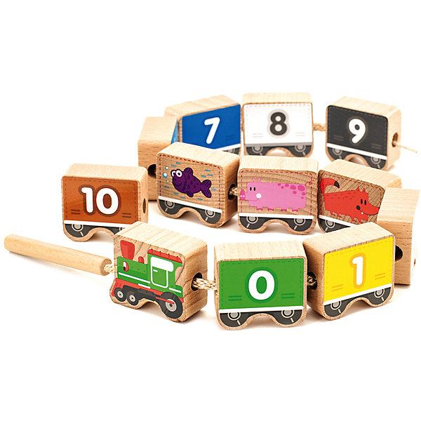Паровозик-шнуровка Цифры, 12 деталей, МДИШнуровки<br>Паровозик-шнуровка Цифры, 12 деталей, МДИ<br><br>Характеристики:<br><br>- Материал: дерево<br>- В комплект входит: 12 деталей, шнурок с деревянной иглой<br>- Размер упаковки: 22х13х10<br>- Вес: 376 гр.<br><br>Паровозик-шнуровка c цифрами от бренда развивающих игрушек для детей Мир деревянных игрушек станет отличным подарком для малыша. Этот паровозик с вагончиками окрашен разными цветами и поможет научиться считать до десяти. На каждом из вагончиков изображения животные на обратной стороне от циферок. Игрушка изготовлена из экологически безопасного материала – дерева, отшлифована и не поранит нежные пальчики. Детали окрашены нетоксичными красками и рисунки выполнены в простом, но качественном дизайне. Играя со шнуровкой малыш сможет развить мелкую моторику ручек, разовьет логической мышление, усидчивость и память.<br><br>Паровозик-шнуровку Цифры, 12 деталей, МДИ можно купить в нашем интернет-магазине.<br><br>Ширина мм: 22<br>Глубина мм: 13<br>Высота мм: 10<br>Вес г: 376<br>Возраст от месяцев: 36<br>Возраст до месяцев: 2147483647<br>Пол: Унисекс<br>Возраст: Детский<br>SKU: 5048963