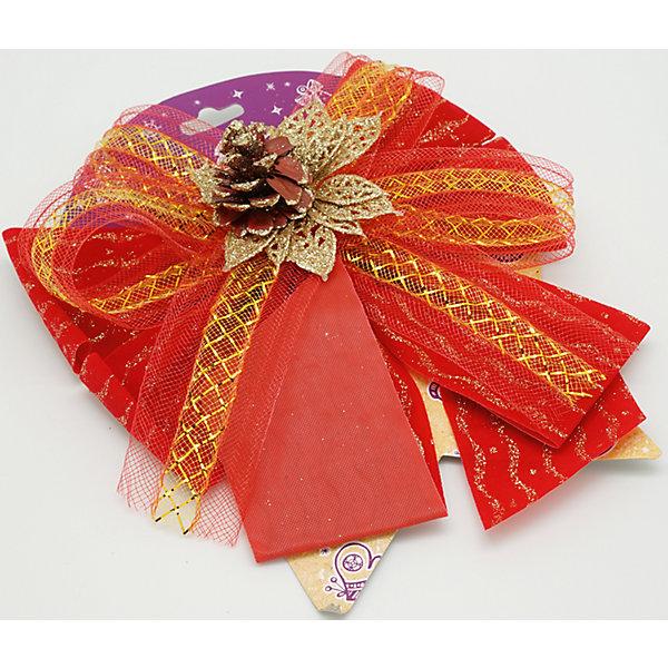 Красный бант с украшениемНовогодняя мишура и бусы<br>Характеристики товара:<br><br>• цвет: красный<br>• декорирован тесьмой<br>• размер упаковки: 27х17х1 см<br>• комплектация: 1 шт<br>• материал: нейлон<br>• фактура: ткань<br>• для украшения интерьера или подарков<br>• страна производства: Китай<br><br>Бант - это универсальное украшение, он добавит торжественности и духа праздника прическе, интерьеру, подарочной упаковке, ёлке! Это украшение будет отлично смотреться в окружении любой цветовой гаммы, оно качественно выполнено и нарядно смотрится. С помощью такого банта можно оригинально украсить квартиру к празднику и декорировать пакет или коробку с подарком.<br>Такие небольшие детали и создают праздник! От них во многом зависит хорошее новогоднее настроение. Изделие производится из качественных сертифицированных материалов, безопасных даже для самых маленьких.<br><br>Бант из ткани красный с украшением (0,27Х0,17Х0,01 м) можно купить в нашем интернет-магазине.<br><br>Ширина мм: 290<br>Глубина мм: 170<br>Высота мм: 10<br>Вес г: 50<br>Возраст от месяцев: 72<br>Возраст до месяцев: 480<br>Пол: Унисекс<br>Возраст: Детский<br>SKU: 5051634