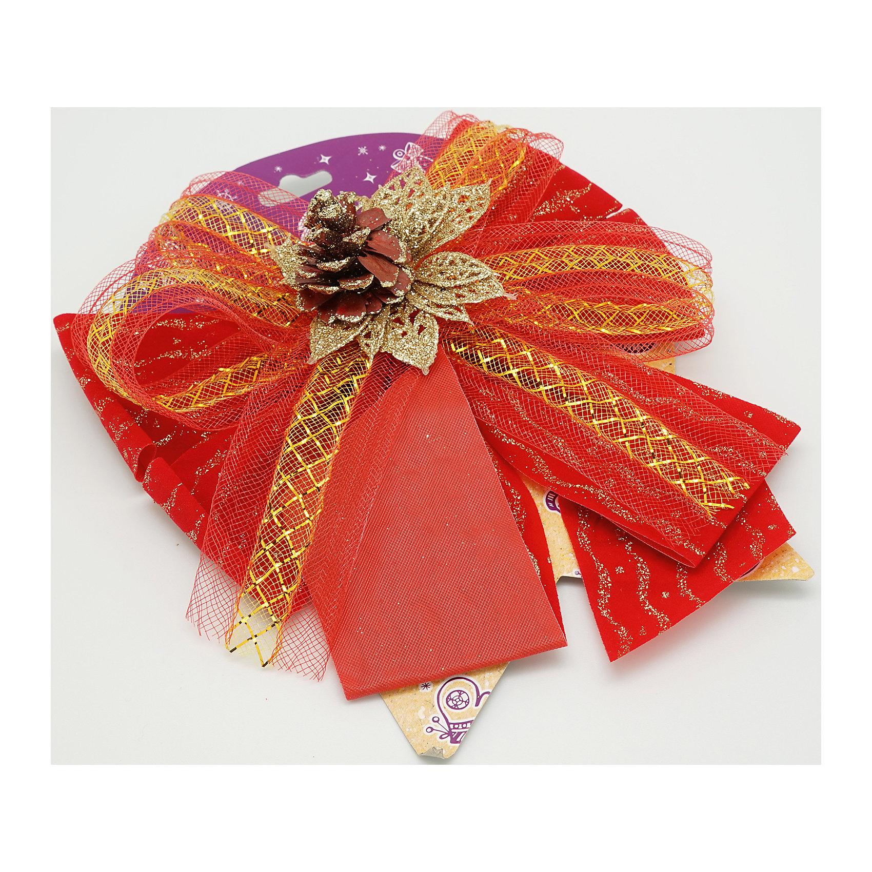 Красный бант с украшениемВсё для праздника<br>Характеристики товара:<br><br>• цвет: красный<br>• декорирован тесьмой<br>• размер упаковки: 27х17х1 см<br>• комплектация: 1 шт<br>• материал: нейлон<br>• фактура: ткань<br>• для украшения интерьера или подарков<br>• страна производства: Китай<br><br>Бант - это универсальное украшение, он добавит торжественности и духа праздника прическе, интерьеру, подарочной упаковке, ёлке! Это украшение будет отлично смотреться в окружении любой цветовой гаммы, оно качественно выполнено и нарядно смотрится. С помощью такого банта можно оригинально украсить квартиру к празднику и декорировать пакет или коробку с подарком.<br>Такие небольшие детали и создают праздник! От них во многом зависит хорошее новогоднее настроение. Изделие производится из качественных сертифицированных материалов, безопасных даже для самых маленьких.<br><br>Бант из ткани красный с украшением (0,27Х0,17Х0,01 м) можно купить в нашем интернет-магазине.<br><br>Ширина мм: 290<br>Глубина мм: 170<br>Высота мм: 10<br>Вес г: 50<br>Возраст от месяцев: 72<br>Возраст до месяцев: 480<br>Пол: Унисекс<br>Возраст: Детский<br>SKU: 5051634
