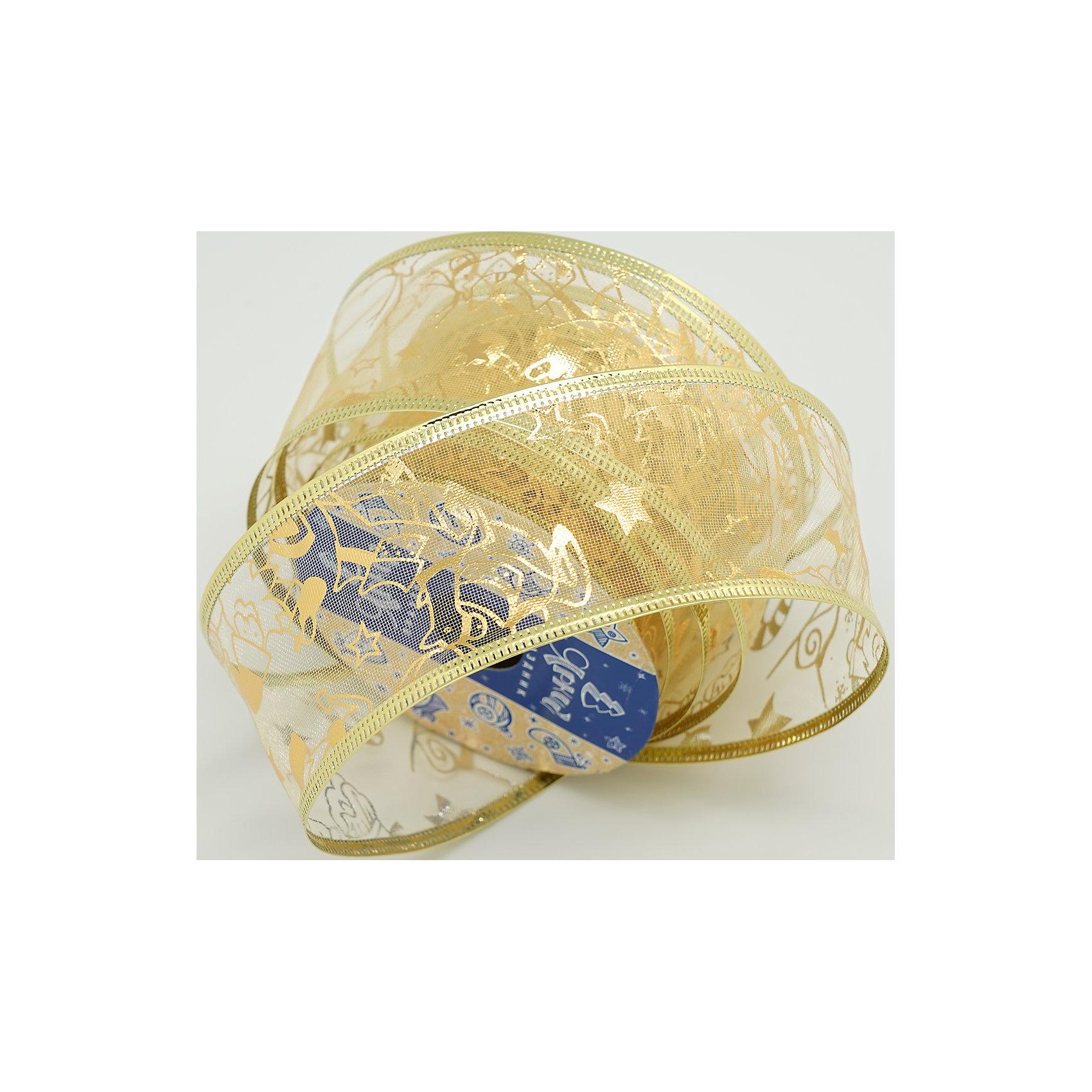 Декоративная лента золотая (0,08Х0,08Х0,05м)Характеристики товара:<br><br>• цвет: золотистый<br>• ширина: 5 см<br>• размер упаковки: 8х8х5 см<br>• комплектация: 1 рулон<br>• материал: нейлон<br>• полупрозрачная<br>• для украшения интерьера или подарков<br>• страна производства: Китай<br><br>Бант из ленты - это универсальное украшение, он добавит торжественности и духа праздника прическе, интерьеру, подарочной упаковке, ёлке! Это украшение будет отлично смотреться в окружении любой цветовой гаммы, оно качественно выполнено и нарядно смотрится. С помощью такой ленты можно оригинально украсить ёлку к празднику и декорировать пакет или коробку с подарком.<br>Такие небольшие детали и создают праздник! От них во многом зависит хорошее новогоднее настроение. Изделие производится из качественных сертифицированных материалов, безопасных даже для самых маленьких.<br><br>Декоративную ленту (0,08Х0,08Х0,05м) можно купить в нашем интернет-магазине.<br><br>Ширина мм: 80<br>Глубина мм: 80<br>Высота мм: 50<br>Вес г: 70<br>Возраст от месяцев: 72<br>Возраст до месяцев: 480<br>Пол: Унисекс<br>Возраст: Детский<br>SKU: 5051643
