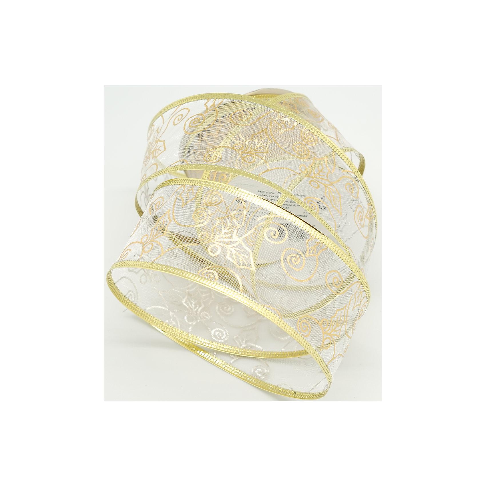 Декоративная лента, прозрачная с золотом (0,08Х0,08Х0,05м)