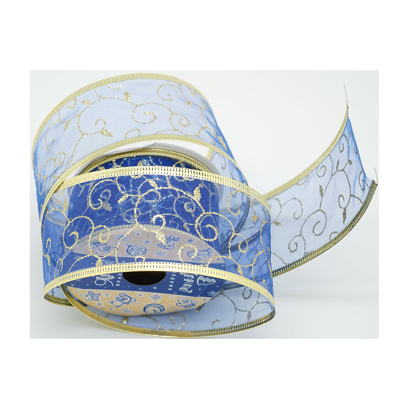 Декоративная лента, синяя с блестками (0,08Х0,08Х0,05м)Характеристики товара:<br><br>• цвет: синий<br>• золотистые включения<br>• ширина: 5 см<br>• размер упаковки: 8х8х5 см<br>• комплектация: 1 рулон<br>• материал: нейлон<br>• полупрозрачная<br>• для украшения интерьера или подарков<br>• страна производства: Китай<br><br>Бант из ленты - это универсальное украшение, он добавит торжественности и духа праздника прическе, интерьеру, подарочной упаковке, ёлке! Это украшение будет отлично смотреться в окружении любой цветовой гаммы, оно качественно выполнено и нарядно смотрится. С помощью такой ленты можно оригинально украсить ёлку к празднику и декорировать пакет или коробку с подарком.<br>Такие небольшие детали и создают праздник! От них во многом зависит хорошее новогоднее настроение. Изделие производится из качественных сертифицированных материалов, безопасных даже для самых маленьких.<br><br>Декоративную ленту (0,08Х0,08Х0,05м) можно купить в нашем интернет-магазине.<br><br>Ширина мм: 80<br>Глубина мм: 80<br>Высота мм: 50<br>Вес г: 70<br>Возраст от месяцев: 72<br>Возраст до месяцев: 480<br>Пол: Унисекс<br>Возраст: Детский<br>SKU: 5051648
