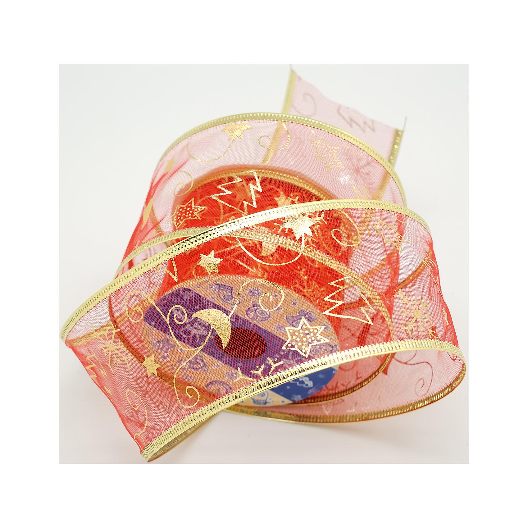 Декоративная лента красная, новогодняя ночь(0,08Х0,08Х0,06 м)Всё для праздника<br>Характеристики товара:<br><br>• цвет: красный<br>• золотистые включения<br>• ширина: 6 см<br>• размер упаковки: 8х8х6 см<br>• комплектация: 1 рулон<br>• материал: нейлон<br>• полупрозрачная<br>• для украшения интерьера или подарков<br>• страна производства: Китай<br><br>Бант из ленты - это универсальное украшение, он добавит торжественности и духа праздника прическе, интерьеру, подарочной упаковке, ёлке! Это украшение будет отлично смотреться в окружении любой цветовой гаммы, оно качественно выполнено и нарядно смотрится. С помощью такой ленты можно оригинально украсить ёлку к празднику и декорировать пакет или коробку с подарком.<br>Такие небольшие детали и создают праздник! От них во многом зависит хорошее новогоднее настроение. Изделие производится из качественных сертифицированных материалов, безопасных даже для самых маленьких.<br><br>Декоративную ленту (0,08Х0,08Х0,06м) можно купить в нашем интернет-магазине.<br><br>Ширина мм: 80<br>Глубина мм: 80<br>Высота мм: 60<br>Вес г: 70<br>Возраст от месяцев: 72<br>Возраст до месяцев: 480<br>Пол: Унисекс<br>Возраст: Детский<br>SKU: 5051652