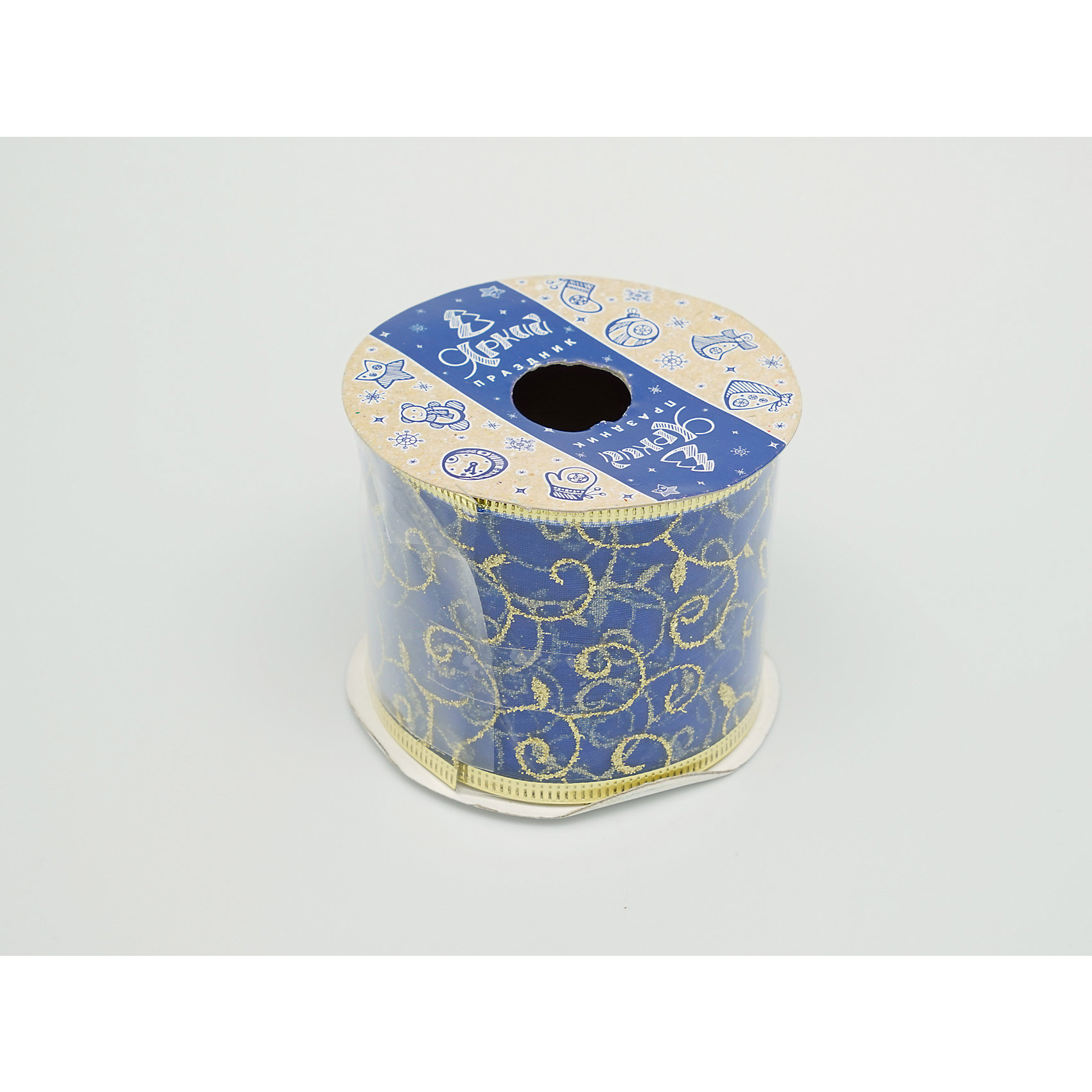 Декоративная лента, синяя (0,08Х0,08Х0,06 м)Характеристики товара:<br><br>• цвет: синий<br>• золотистые включения<br>• ширина: 6 см<br>• размер упаковки: 8х8х6 см<br>• комплектация: 1 рулон<br>• материал: нейлон<br>• полупрозрачная<br>• для украшения интерьера или подарков<br>• страна производства: Китай<br><br>Бант из ленты - это универсальное украшение, он добавит торжественности и духа праздника прическе, интерьеру, подарочной упаковке, ёлке! Это украшение будет отлично смотреться в окружении любой цветовой гаммы, оно качественно выполнено и нарядно смотрится. С помощью такой ленты можно оригинально украсить ёлку к празднику и декорировать пакет или коробку с подарком.<br>Такие небольшие детали и создают праздник! От них во многом зависит хорошее новогоднее настроение. Изделие производится из качественных сертифицированных материалов, безопасных даже для самых маленьких.<br><br>Декоративную ленту (0,08Х0,08Х0,06м) можно купить в нашем интернет-магазине.<br><br>Ширина мм: 80<br>Глубина мм: 80<br>Высота мм: 60<br>Вес г: 70<br>Возраст от месяцев: 72<br>Возраст до месяцев: 480<br>Пол: Унисекс<br>Возраст: Детский<br>SKU: 5051654