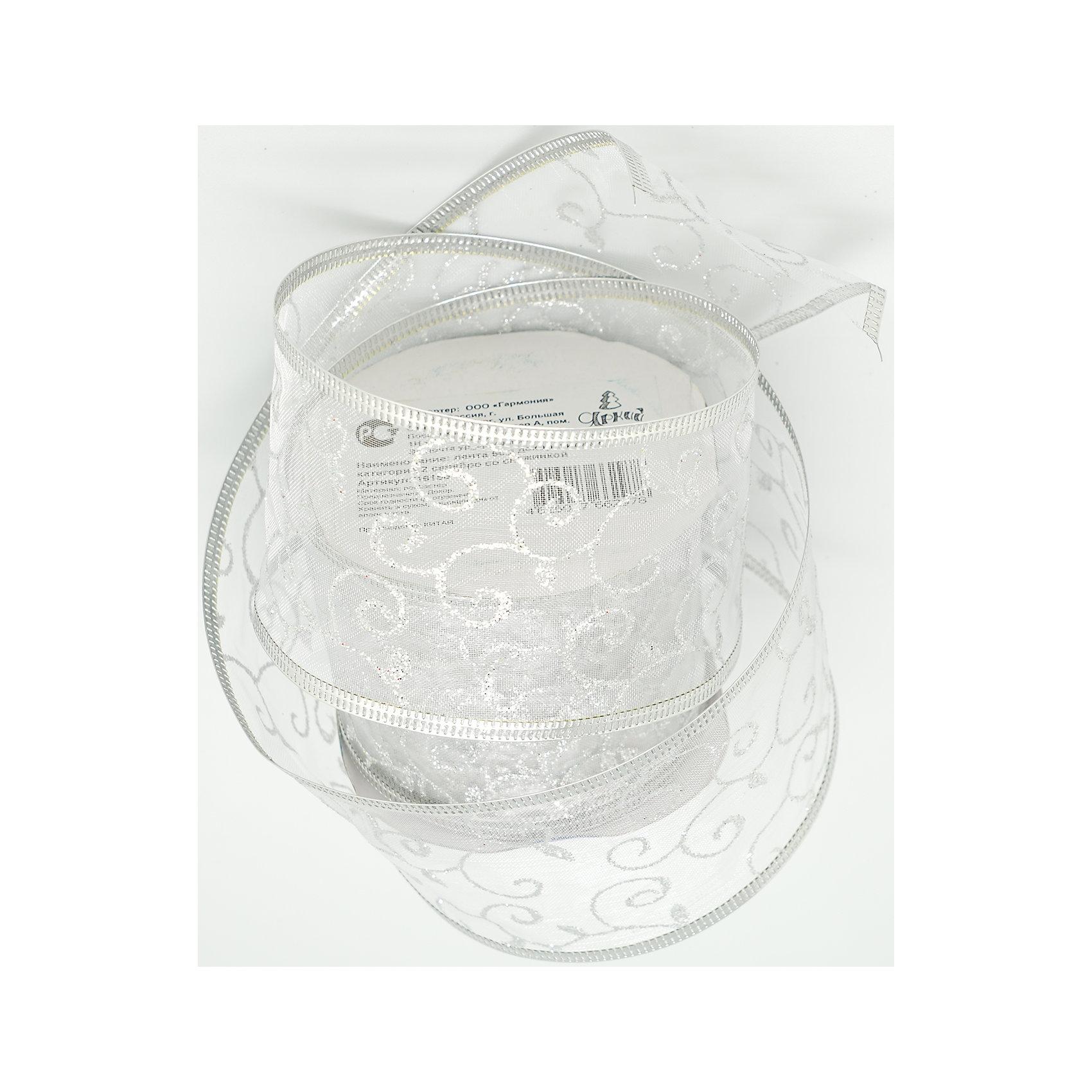 Декоративная лента, серебро со снежинкой (0,08Х0,08Х0,06 м)Всё для праздника<br>Характеристики товара:<br><br>• цвет: серебристый<br>• ширина: 6 см<br>• размер упаковки: 8х8х6 см<br>• комплектация: 1 рулон<br>• материал: нейлон<br>• прозрачная<br>• для украшения интерьера или подарков<br>• страна производства: Китай<br><br>Бант из ленты - это универсальное украшение, он добавит торжественности и духа праздника прическе, интерьеру, подарочной упаковке, ёлке! Это украшение будет отлично смотреться в окружении любой цветовой гаммы, оно качественно выполнено и нарядно смотрится. С помощью такой ленты можно оригинально украсить ёлку к празднику и декорировать пакет или коробку с подарком.<br>Такие небольшие детали и создают праздник! От них во многом зависит хорошее новогоднее настроение. Изделие производится из качественных сертифицированных материалов, безопасных даже для самых маленьких.<br><br>Декоративную ленту (0,08Х0,08Х0,06м) можно купить в нашем интернет-магазине.<br><br>Ширина мм: 80<br>Глубина мм: 80<br>Высота мм: 60<br>Вес г: 70<br>Возраст от месяцев: 72<br>Возраст до месяцев: 480<br>Пол: Унисекс<br>Возраст: Детский<br>SKU: 5051656