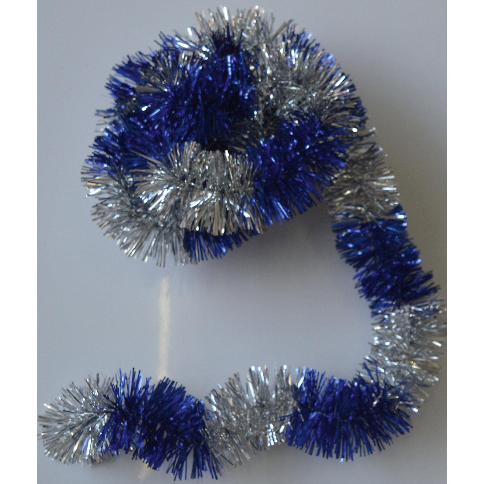 Новогодняя мишура, синий с серебром 5х200Мишура новогодняя синий с серебром 5х200 арт.16496 Мишура идеально подойдет для оформления Вашего новогоднего праздника.<br>Из Мишуры очень просто воплотить Ваши дизайнерские идеи в  жизнь, благодаря тонкой проволке внутри, мишура легко принимает ту форму, которую Вам необходимо. Удачи в Ваших Новогодних задумках!<br><br>Ширина мм: 2000<br>Глубина мм: 50<br>Высота мм: 50<br>Вес г: 50<br>Возраст от месяцев: 72<br>Возраст до месяцев: 480<br>Пол: Унисекс<br>Возраст: Детский<br>SKU: 5051662